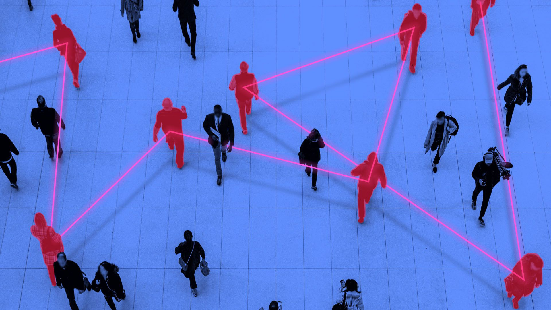 Illustration of a crowd of people with a glowing line identifying positivecases of coronavirus