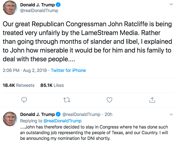 The turbulent nomination of Ratcliffe highlights how Trump's White House works