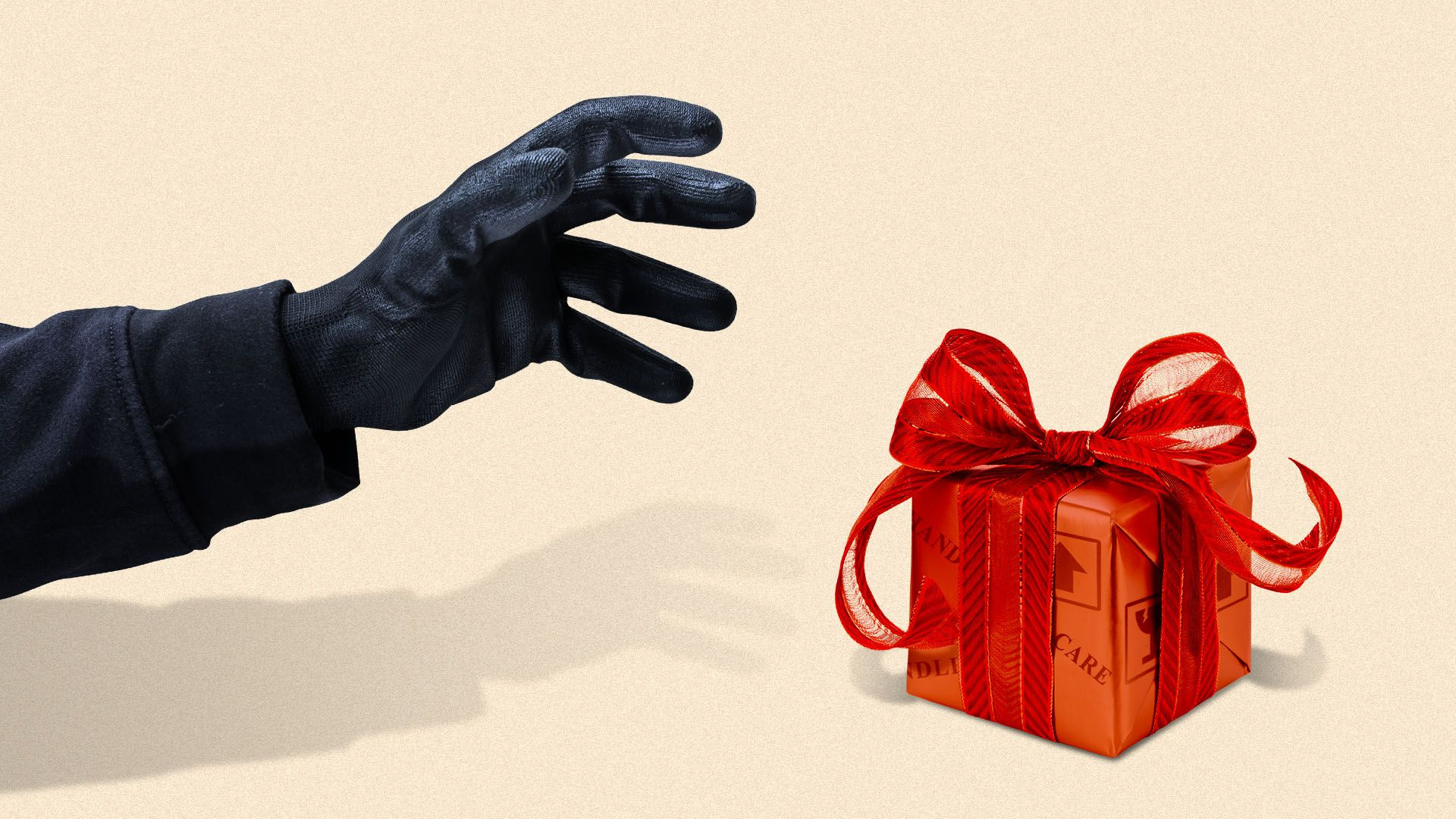 Illustration of a holiday gift covered in package delivery stamps with a gloved hand about to grab it
