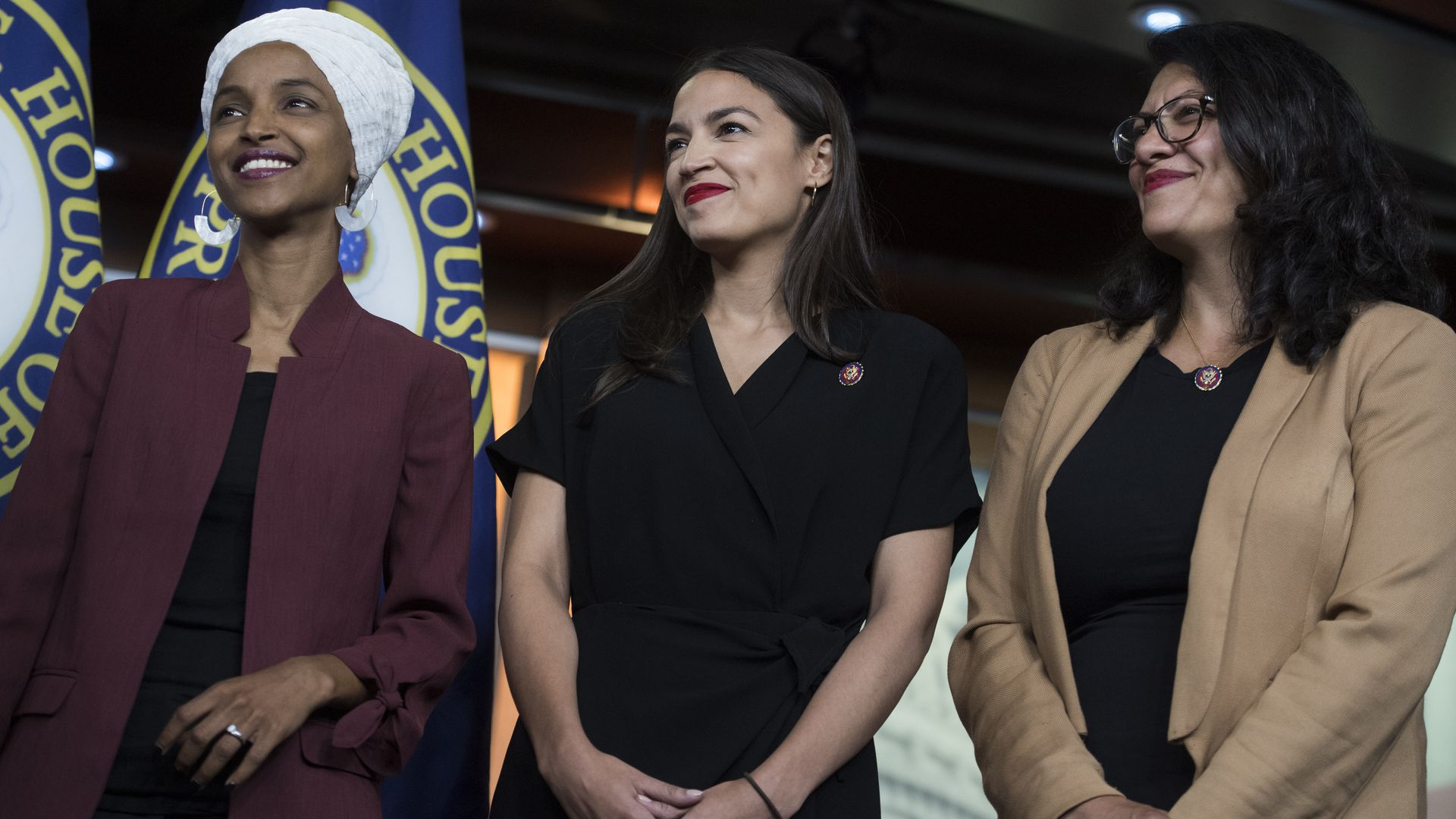 Reps. Ilhan Omar, D-Minn., Alexandria Ocasio-Cortez, D-N.Y., and Rashida Tlaib, D-Mich., conduct a news conference in the Capitol Visitor Center on Monday, July 15