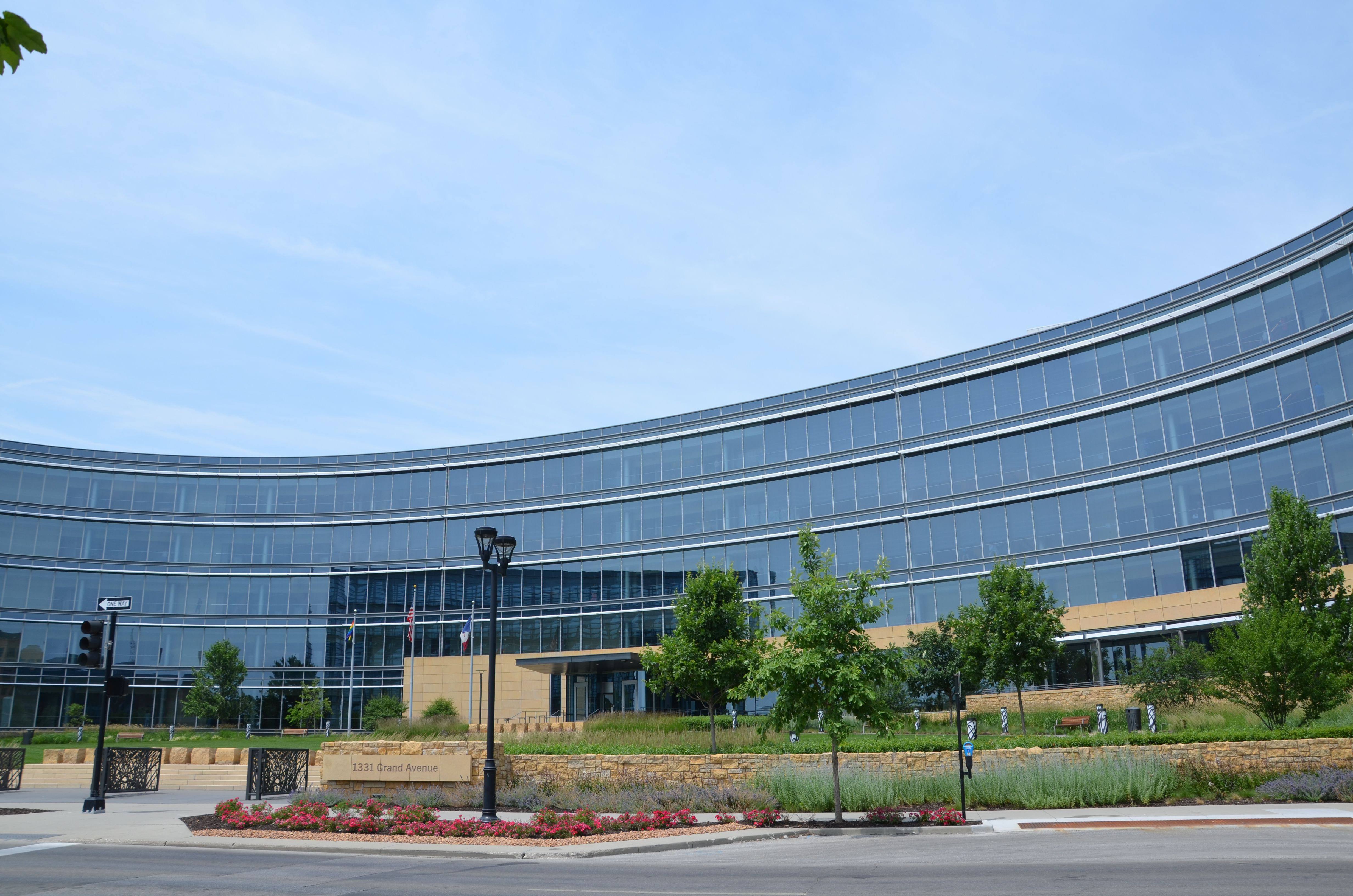 Picture of Wellmark's downtown headquarters, a building covered in windows.
