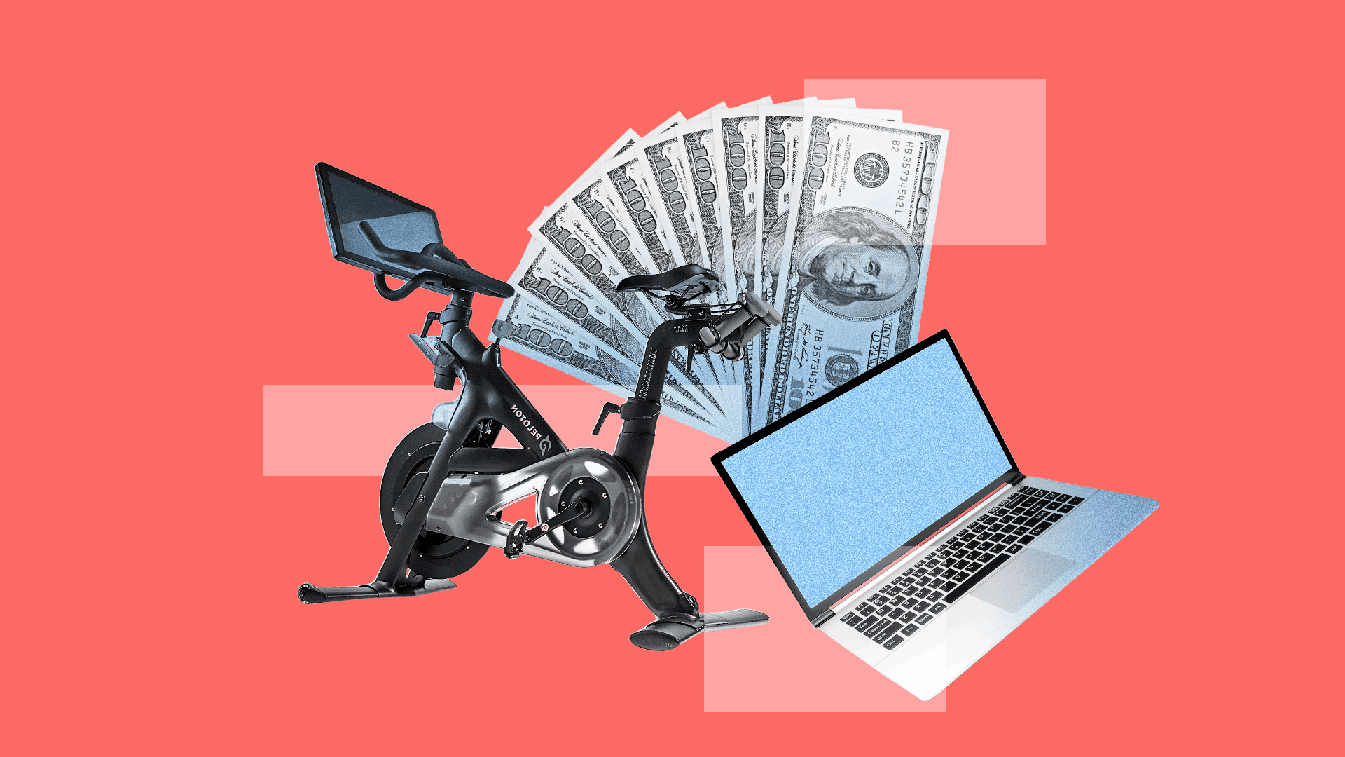 An illustration of an elliptical, laptop and money.