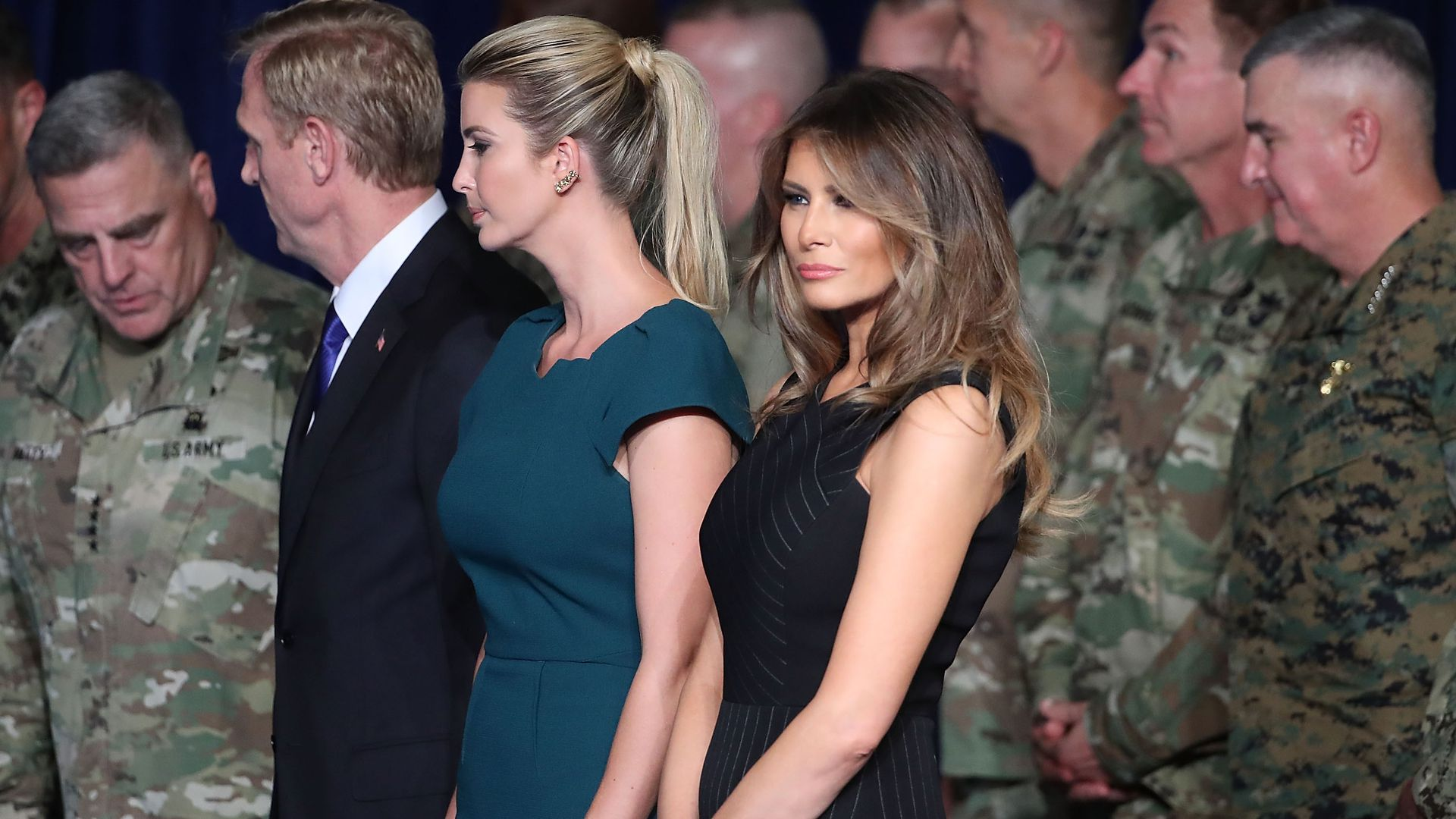 Melania Trump stands with Ivanka Trump before Presiden Trump delivered remarks on Afghanistan