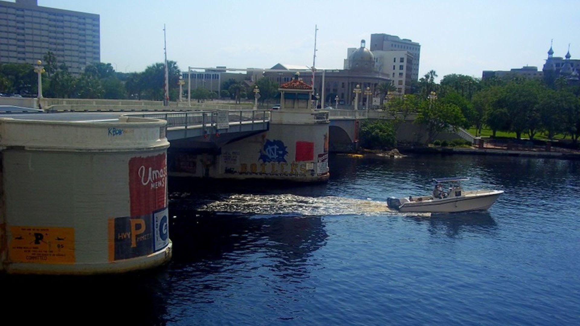 Rowers' art on the Kennedy Boulevard Bridge.