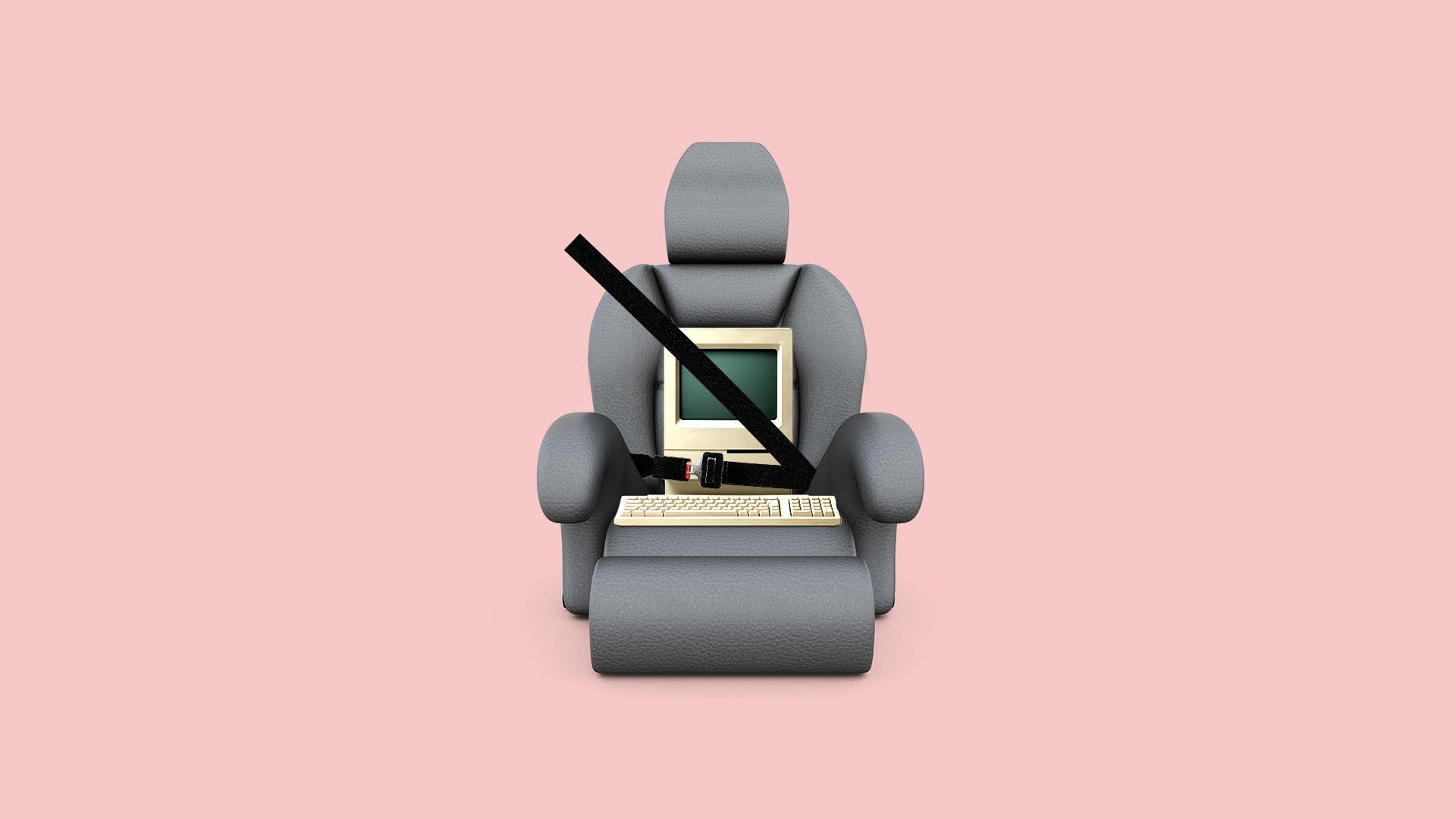 Illustration of a computer wearing a seat belt