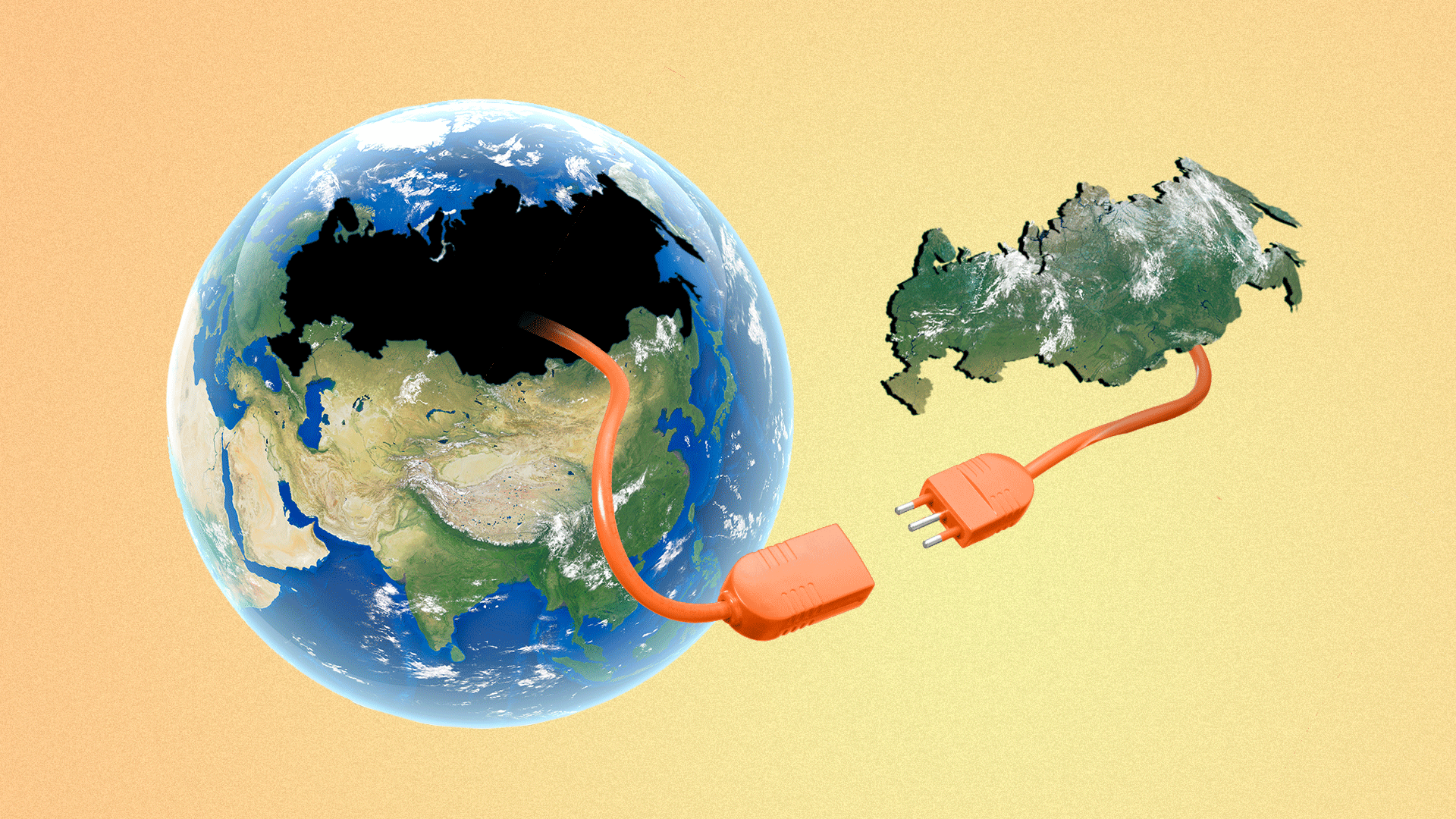 Illustration of a globe with an unplugged extension cable leading from an empty Russia-shaped hole in Earth to a floating Russia which has the other end of the extension cable hanging from it.