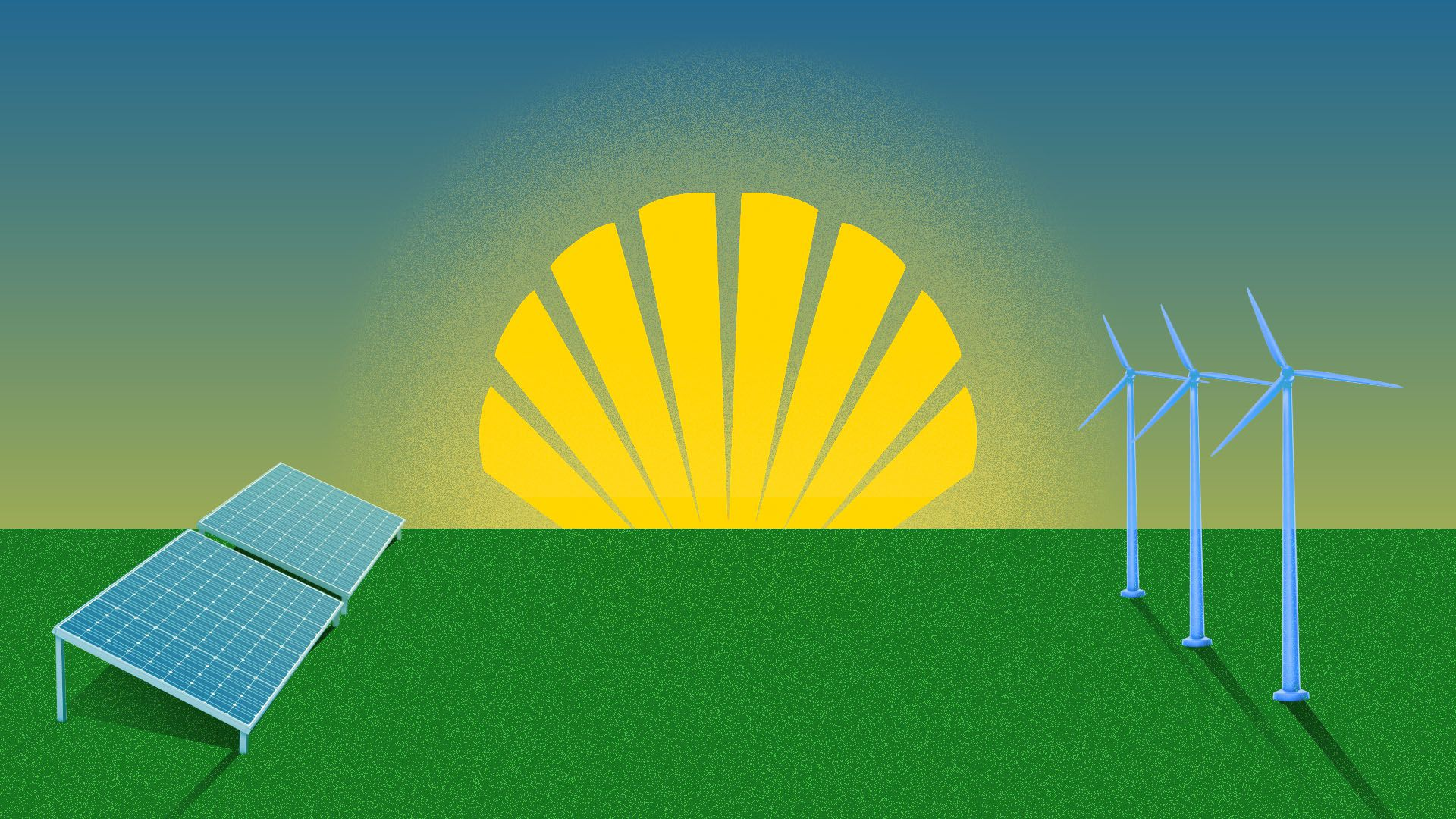 Illustration of Shell logo as sun rising over alternative energy methods