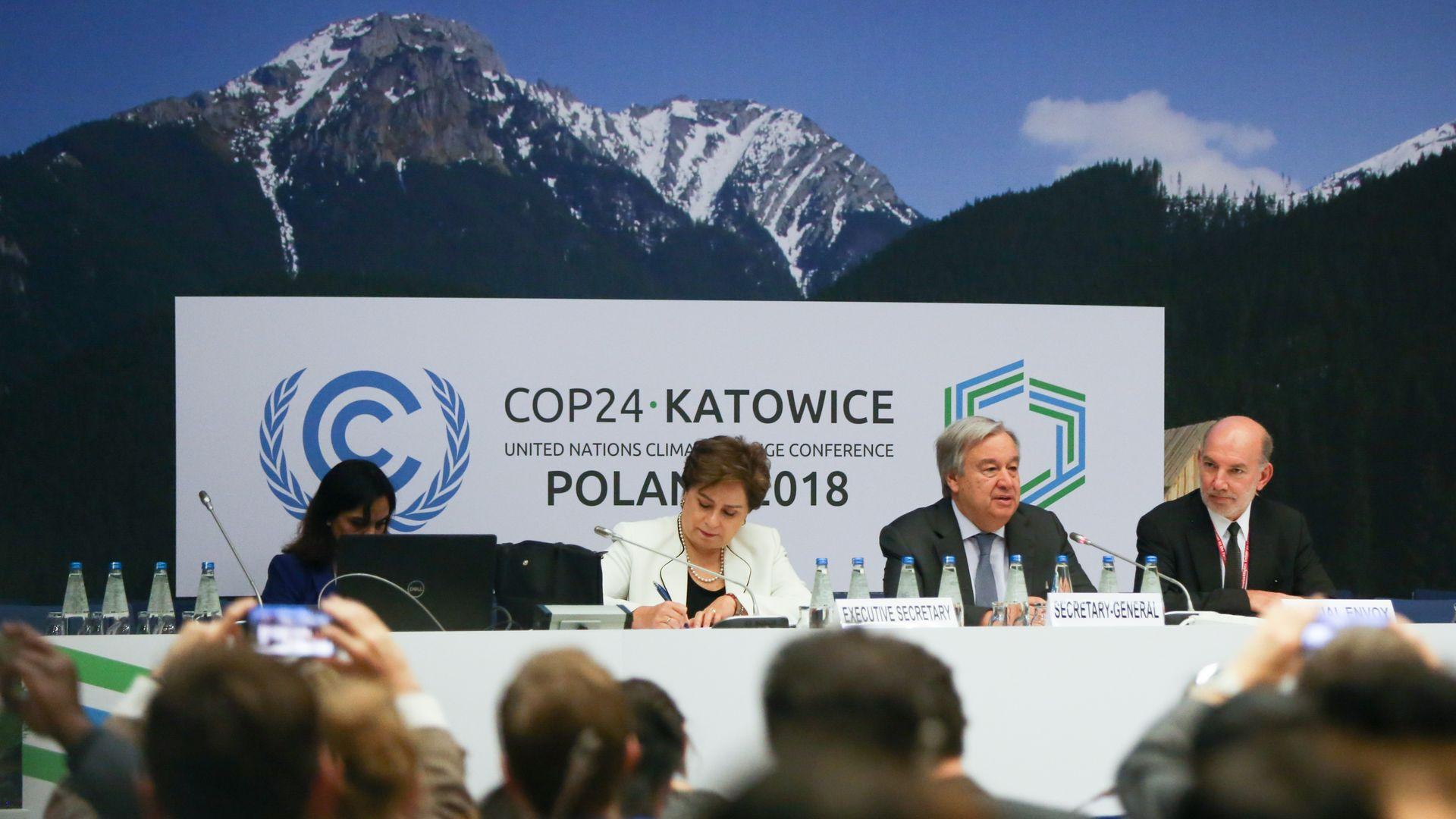 Antonio Guterres, Patricia Espinosa and Luis Alfonso de Alba at COP 24 in  Katowice, Poland on 14 December, 2018.