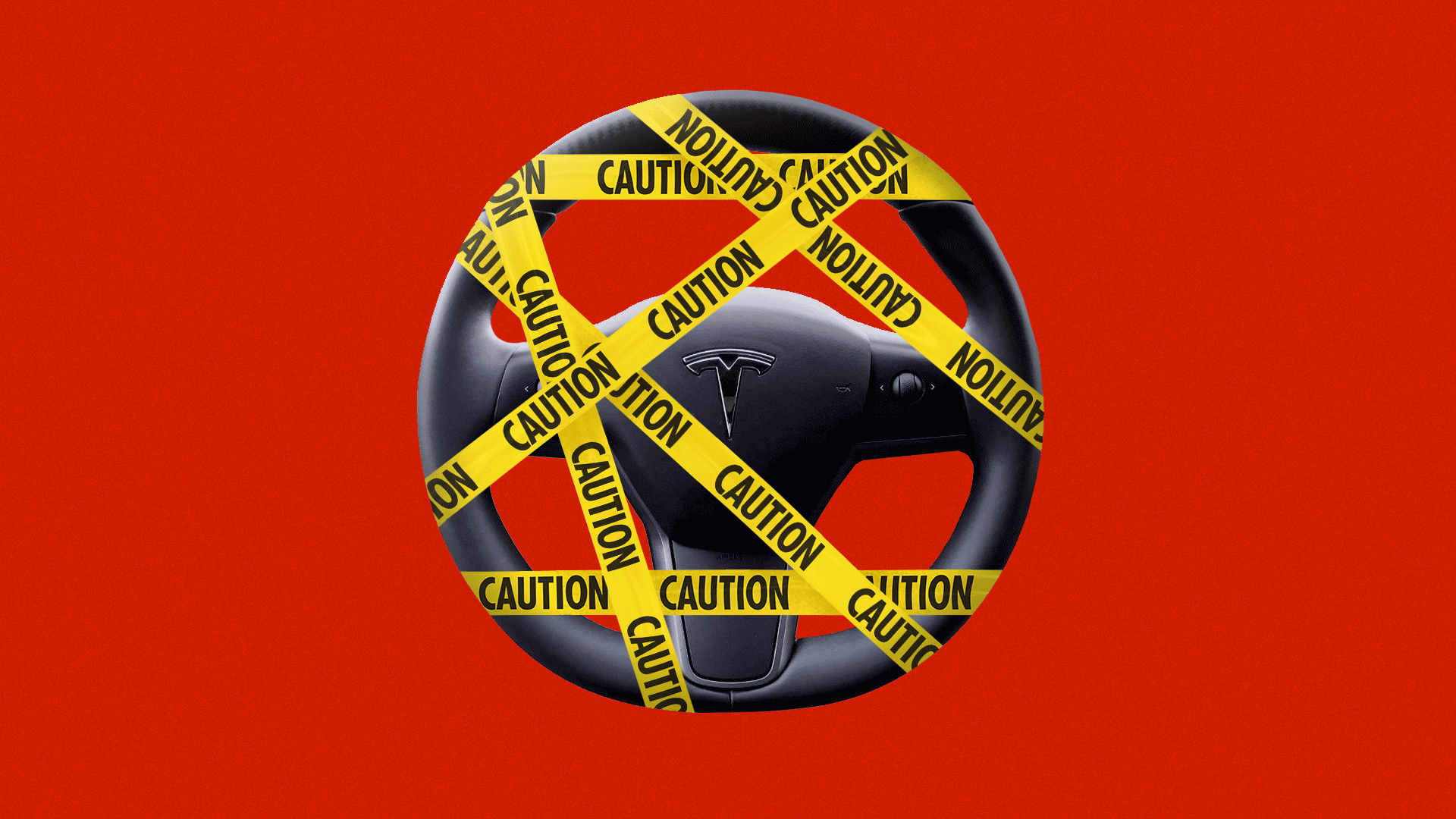 Illustration of a Tesla steering wheel covered in caution tape.