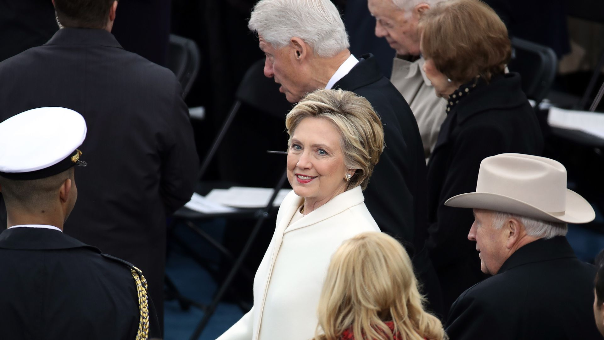Hillary Clinton at Donald Trump's inauguration.