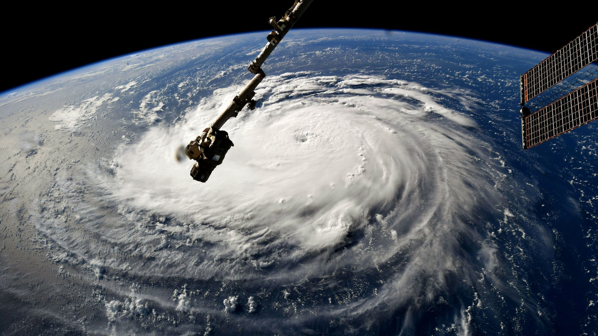 Astronaut Ricky Arnold, Hurricane Florence gains strength in the Atlantic Ocean as it moves west, seen from the International Space Station on September 10, 2018.