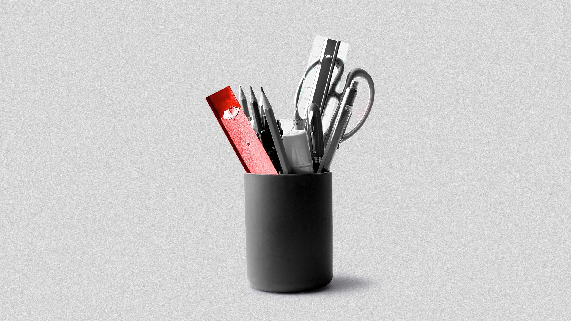 Illustration of a cup of school supplies with a Juul in the cup