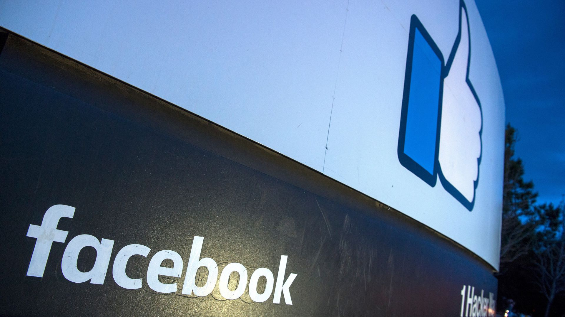 The facebook logo at its headquarters.