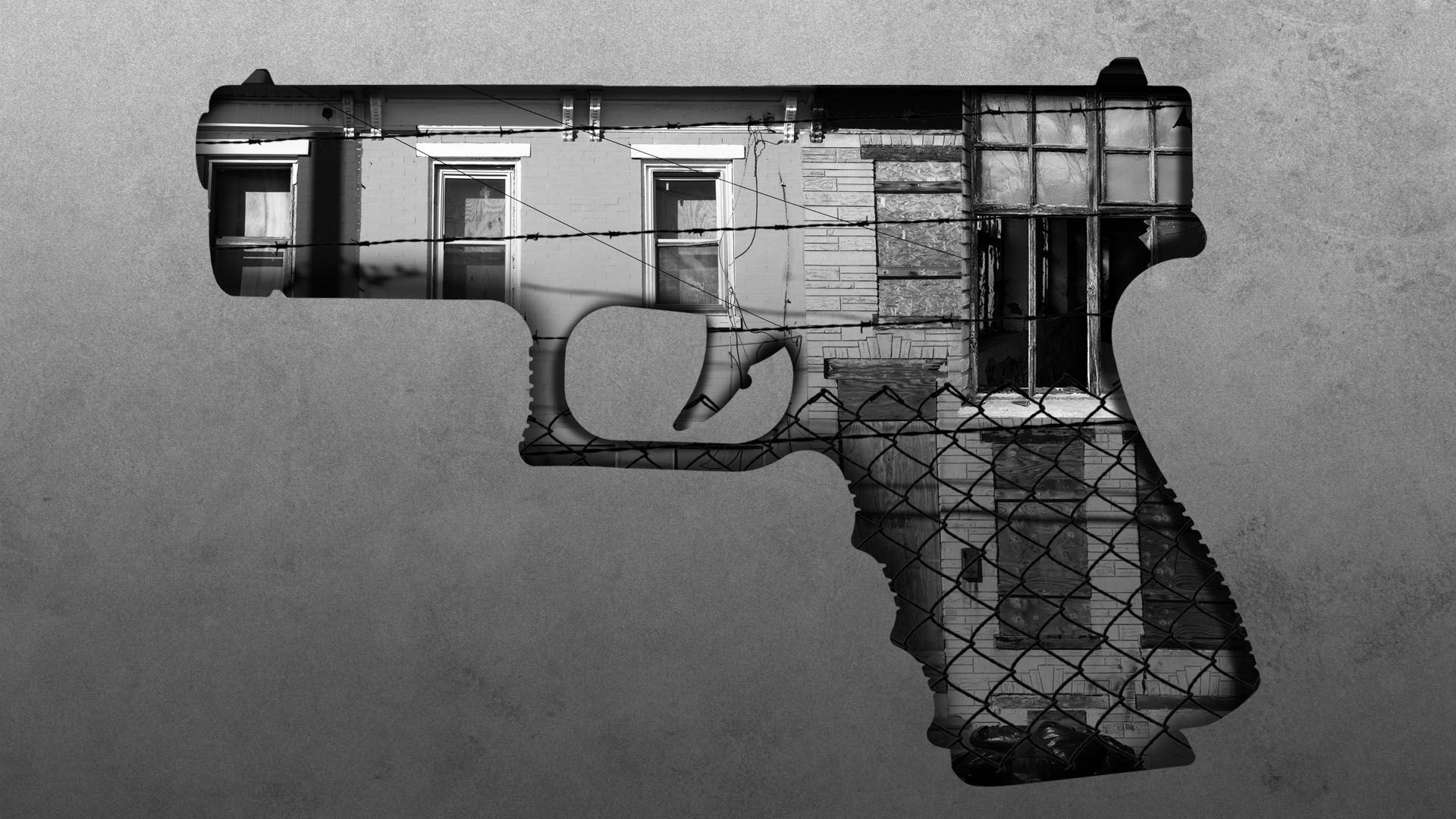 Illustration of boarded up homes, broken windows, and chain link fence in the shape of a firearm