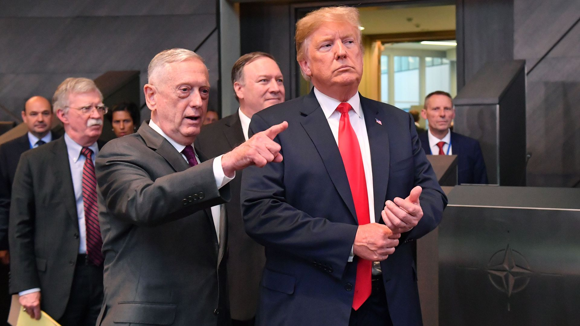 President Trump  walks with Secretary of Defence James Mattis, Secretary of State Mike Pompeo and National Security Adviser National security adviser John Bolton
