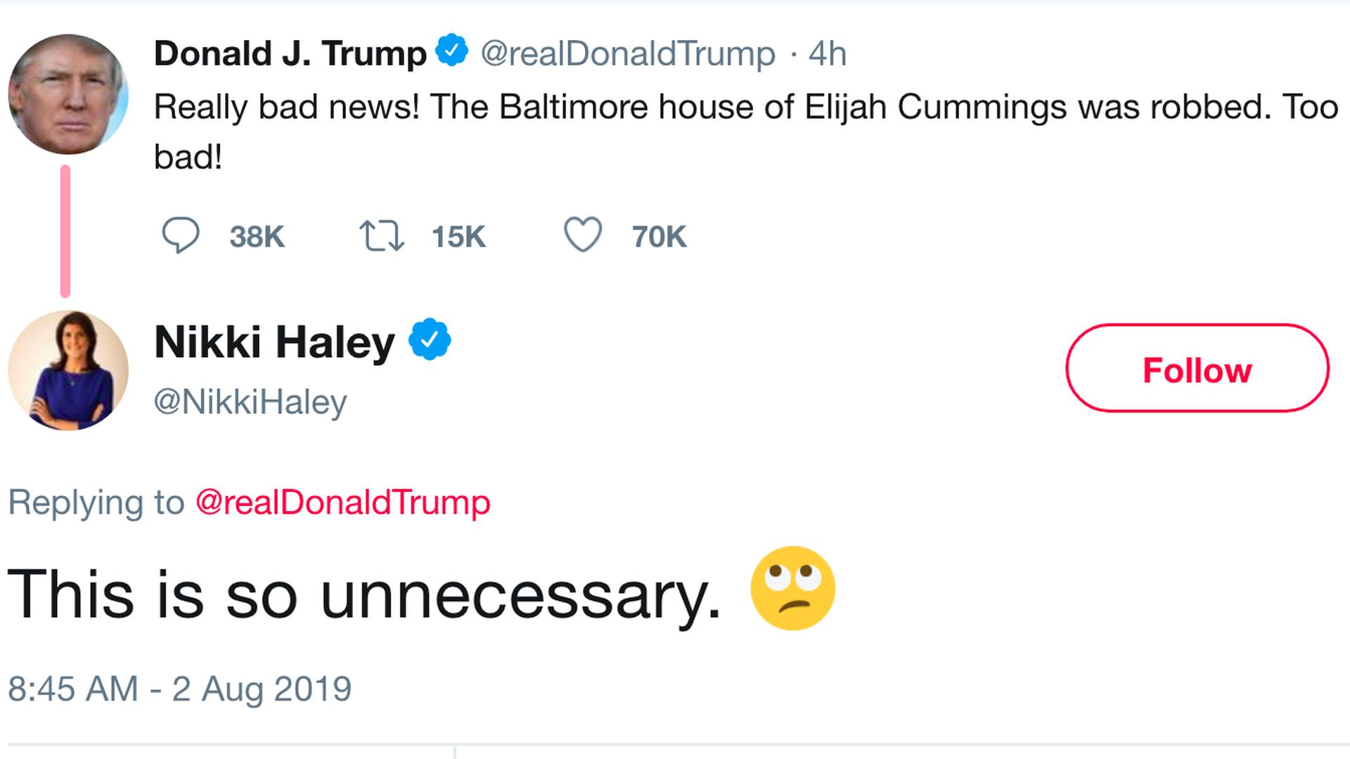 Nikki Haley calls Trump's tweet about Elijah Cummings