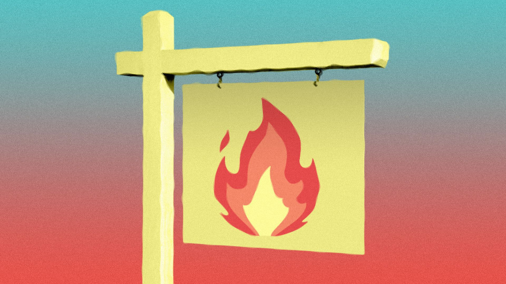 Illustration of a real estate for sale sign with a fire emoji on it.