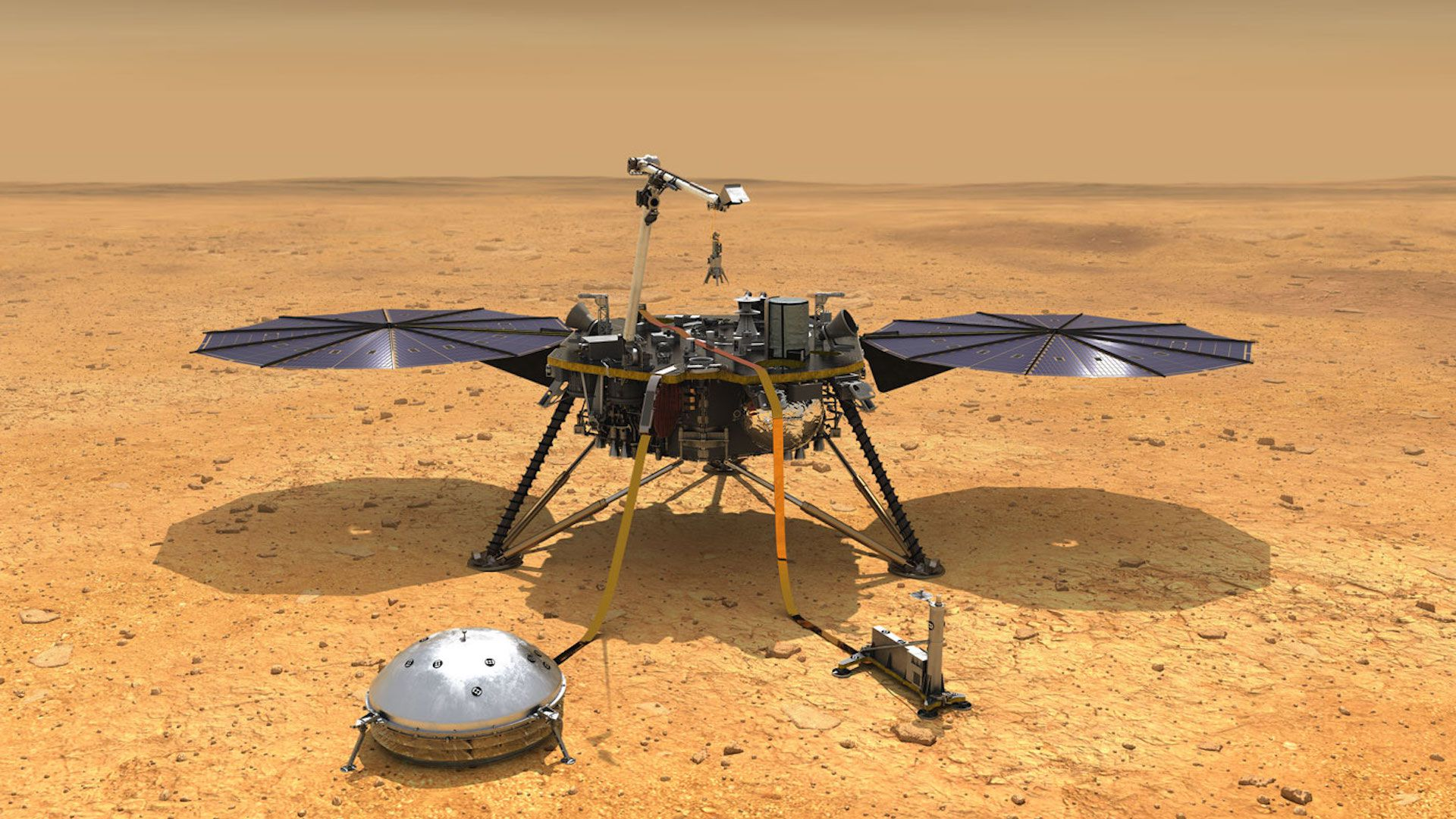 The Mars InSight lander as depicted in an illustration with its instruments deployed on the surface of Mars.