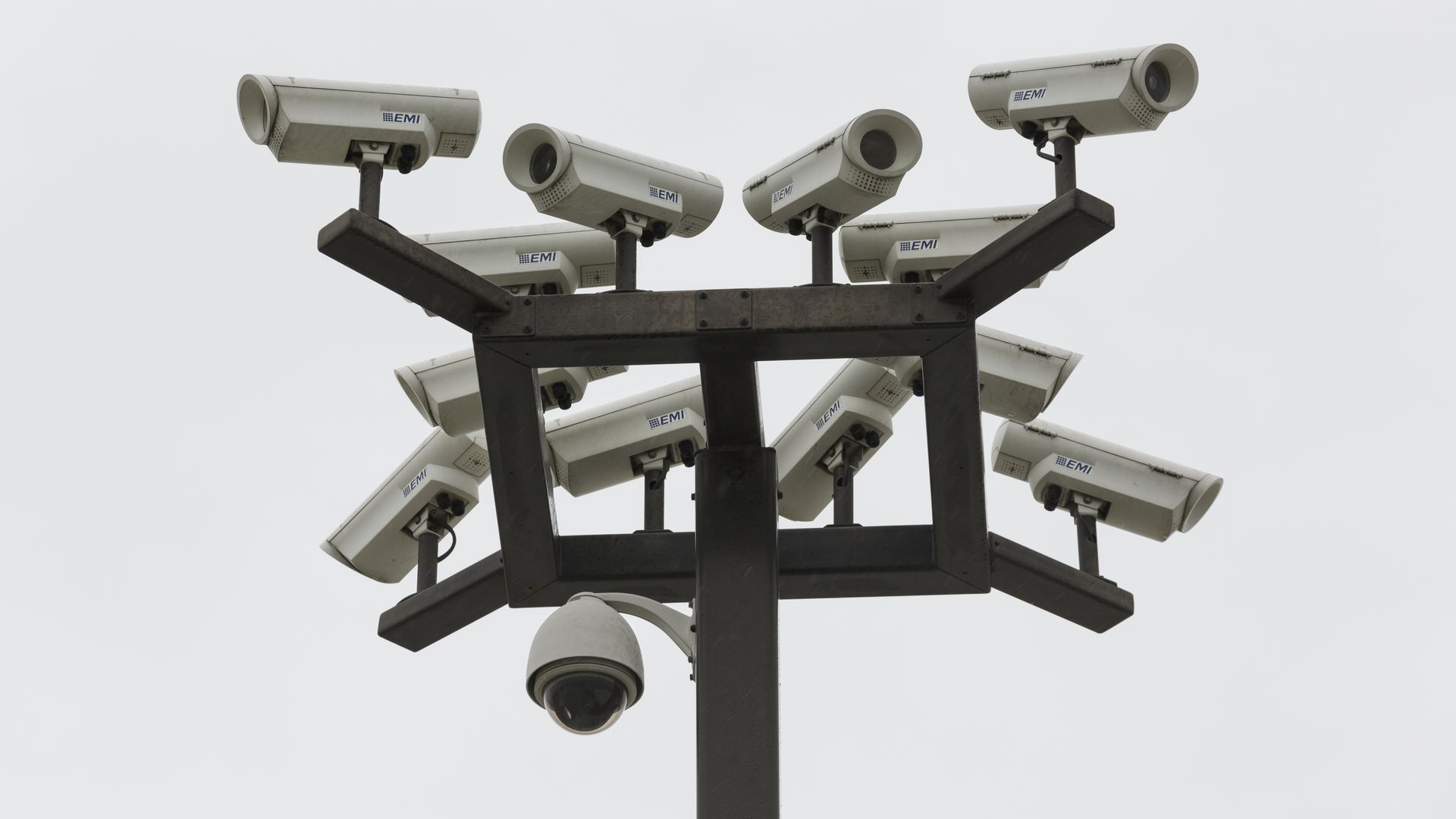 A tower of security cameras at a California self-storage facility.