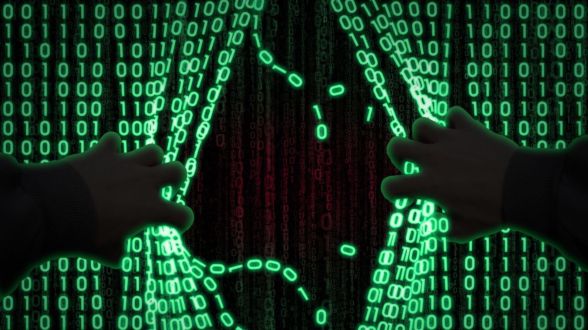 Illustration of a hacker breaking binary data