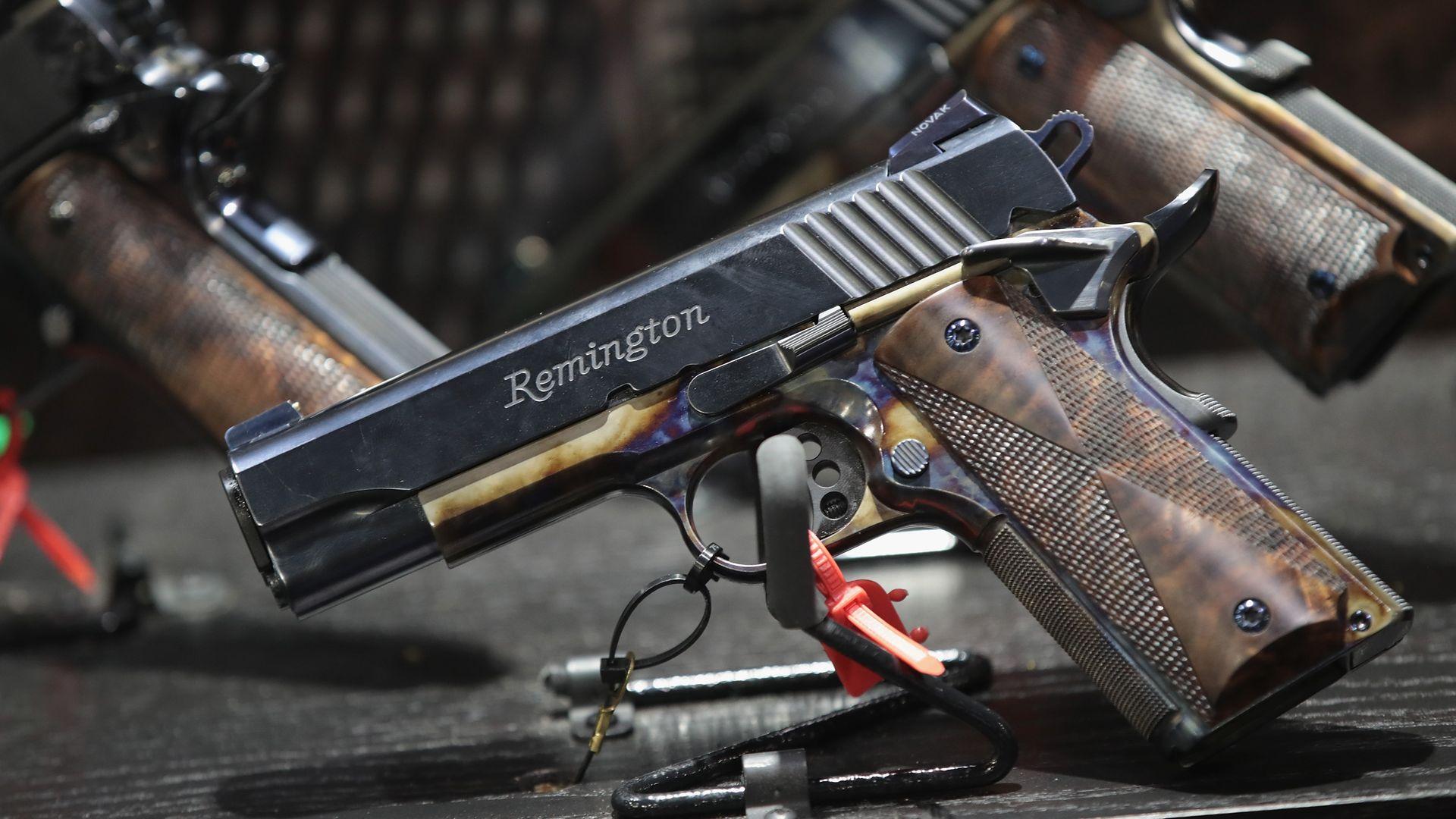 Custom Remington gun at NRA convention.