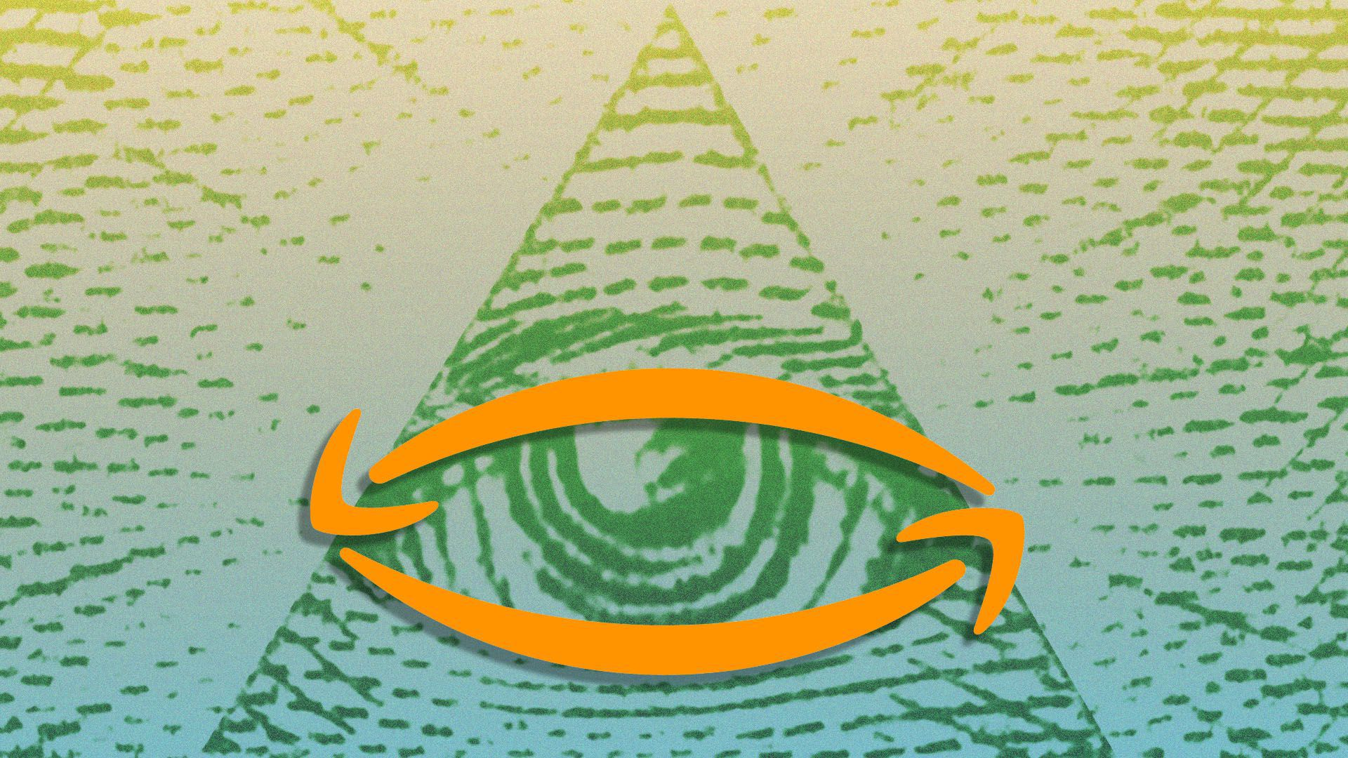 An Illustration of the Amazon logo over the Eye of Providence