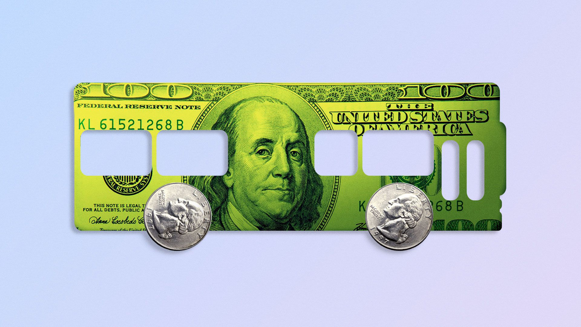 Illustration of a public bus made of a $100 bill and quarters