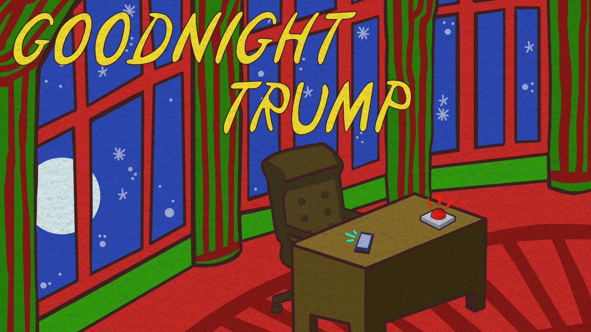 "An illustration of a book cover titled ""Goodnight Trump"" that mirrors ""Goodnight Moon"""