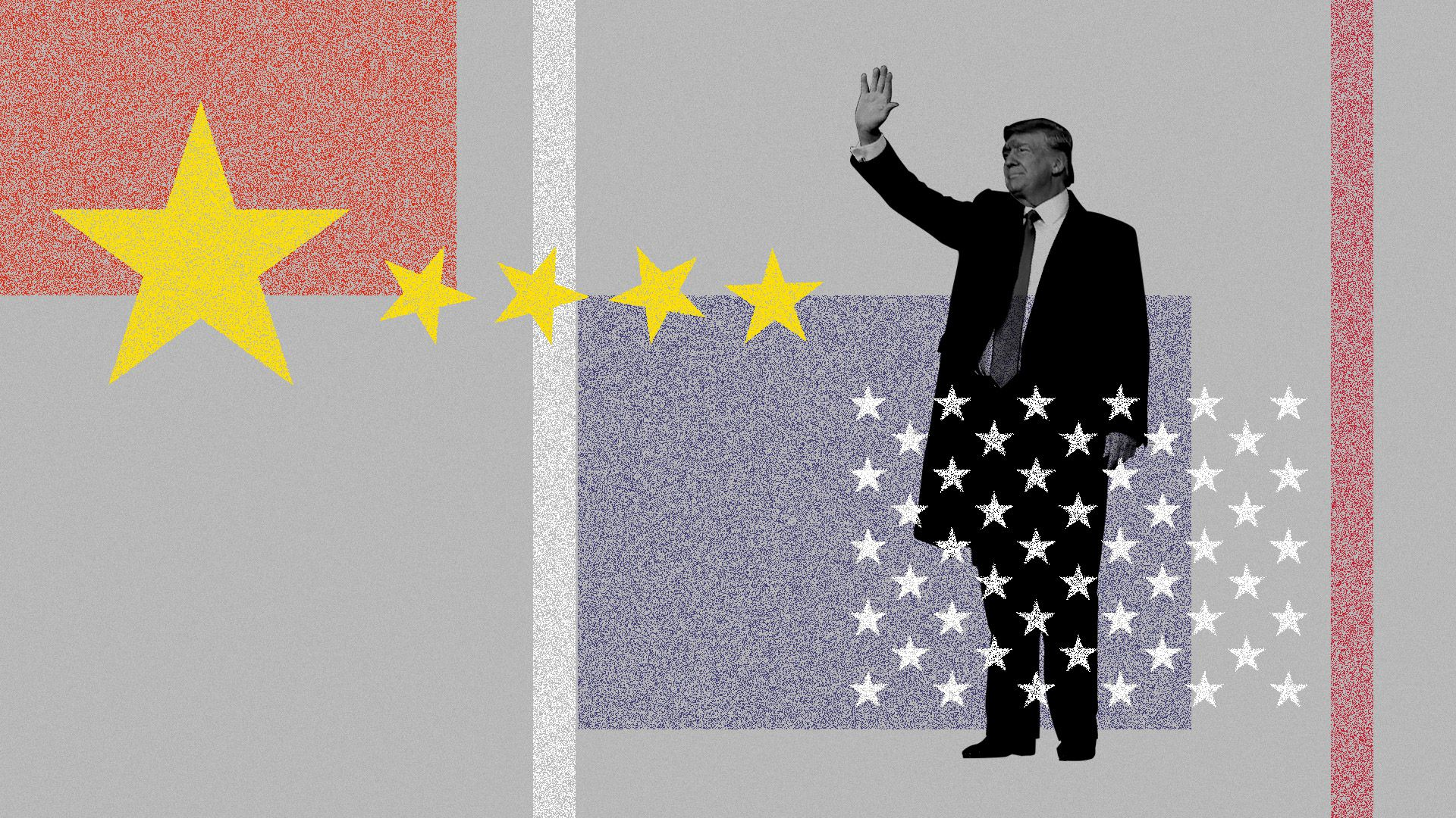 Donald Trump standing among deconstructed Chinese and American flags
