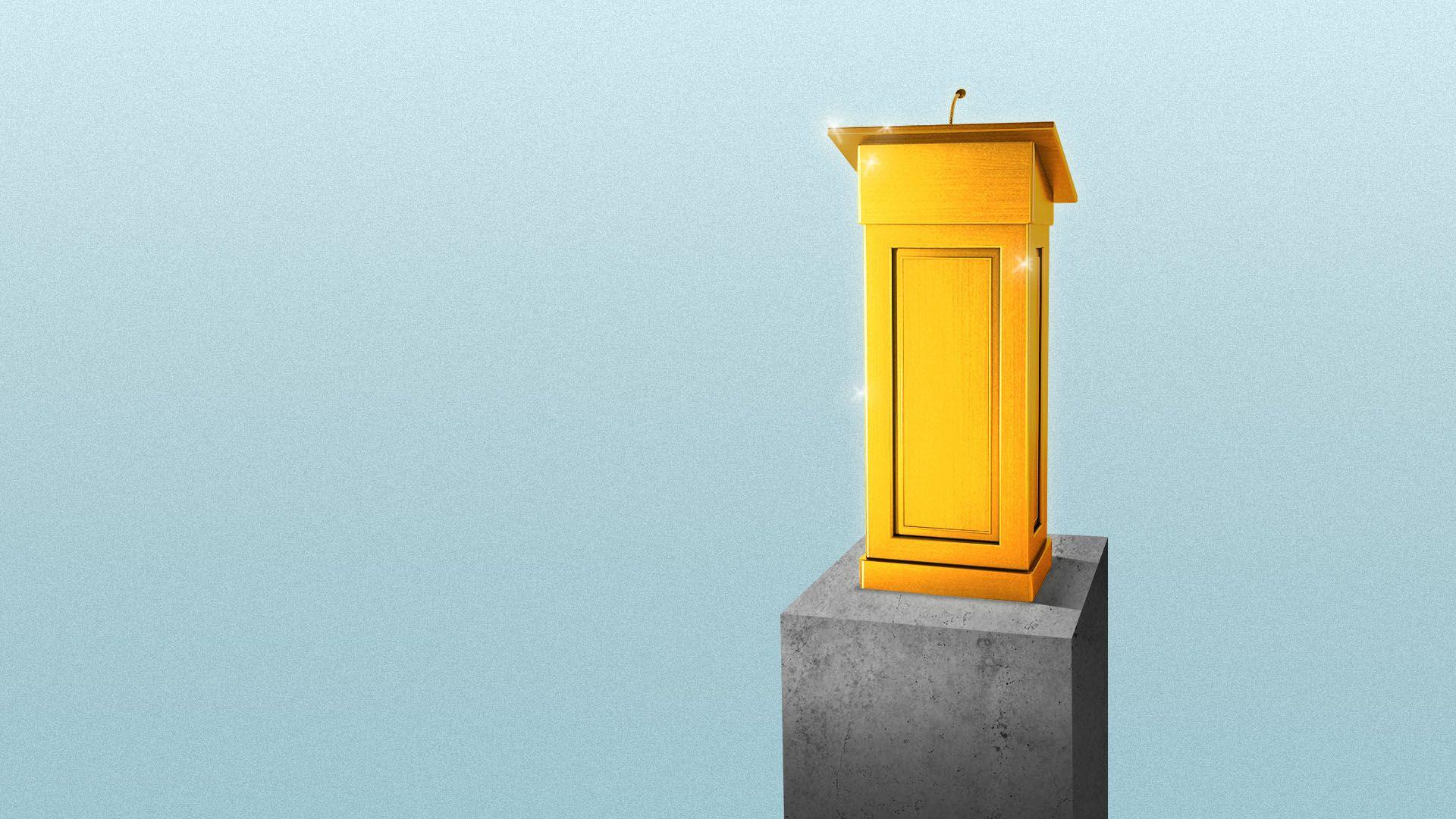 Illustration of a golden podium on a pedestal