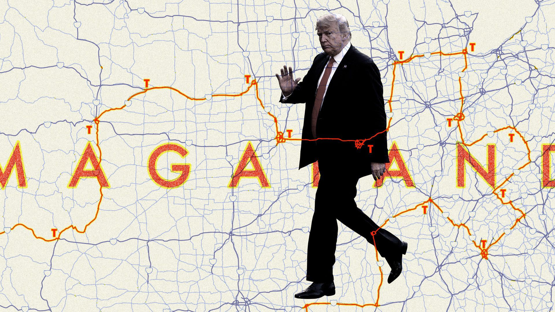 Illustration of Trump walking on a map.