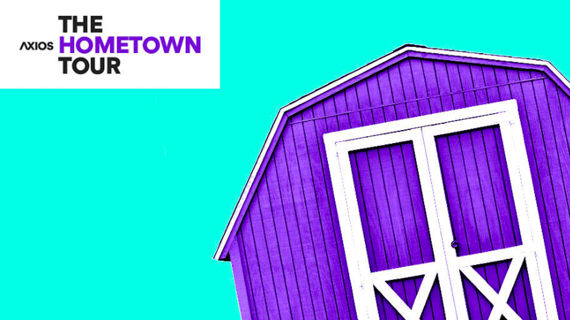 Axios' The Hometown Tour logo. It is a purple barn with blue background.