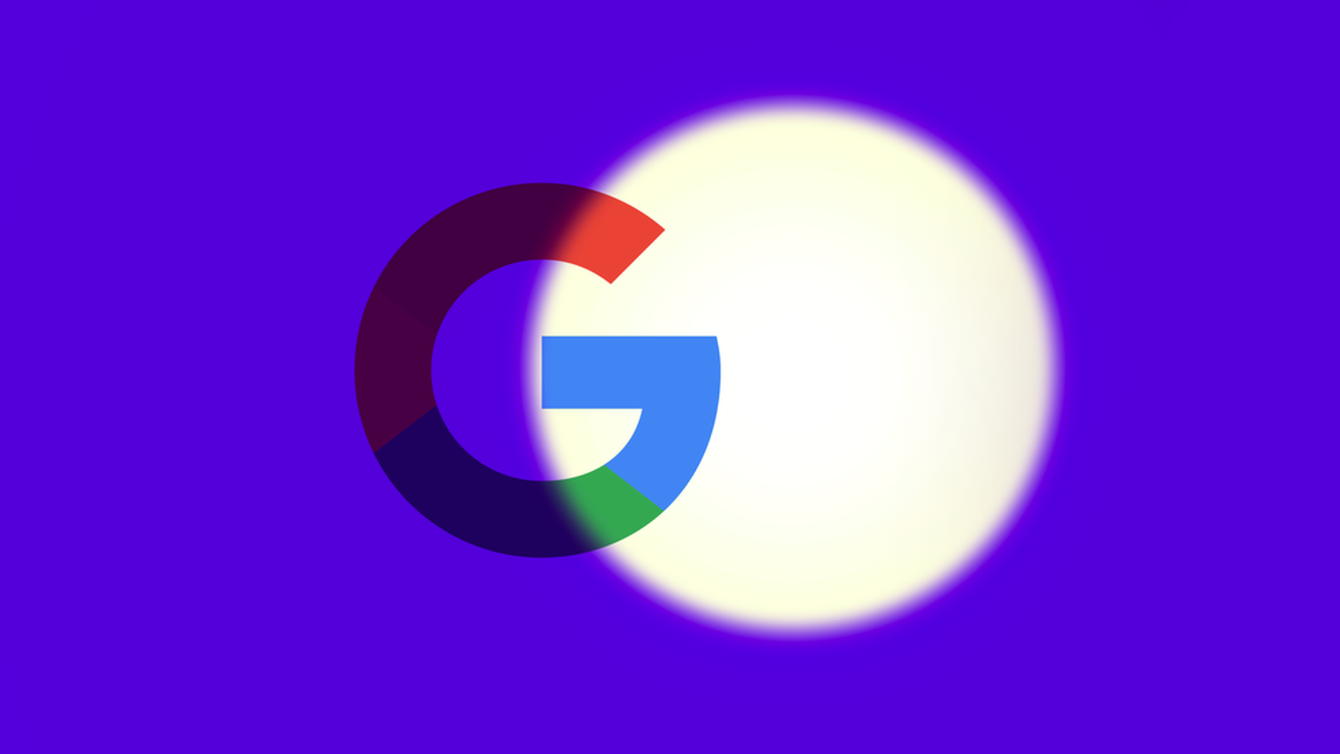 "Illustration of Google ""G"" symbol with spotlight on it but only partially"