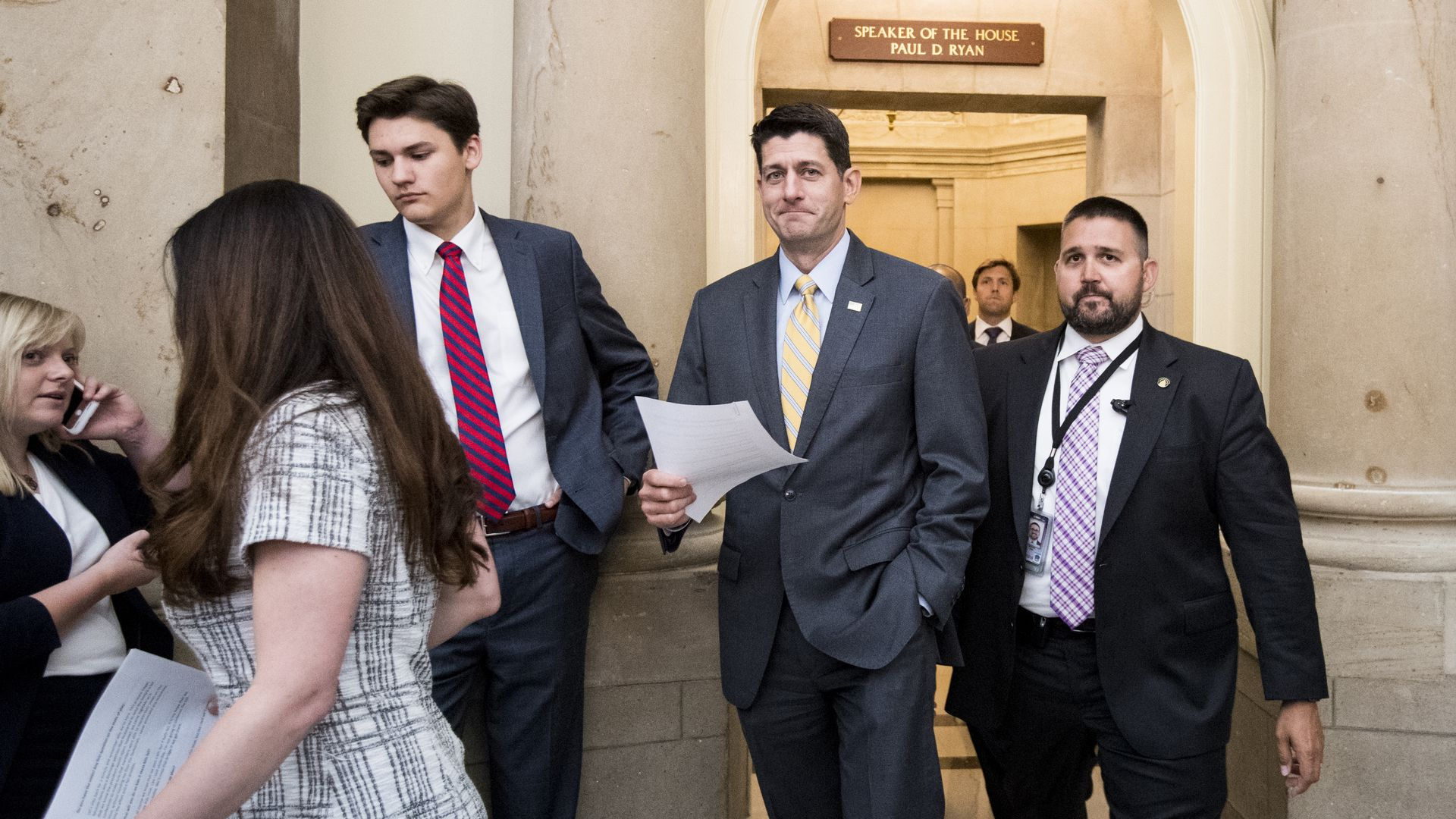 House Speaker Paul Ryan walks out of his office in the Capitol