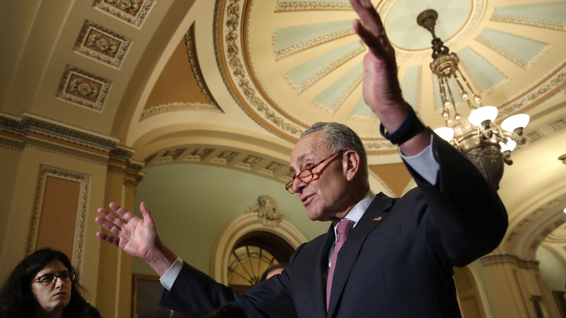 Sen. Chuck Schumer gesticulates during a speech