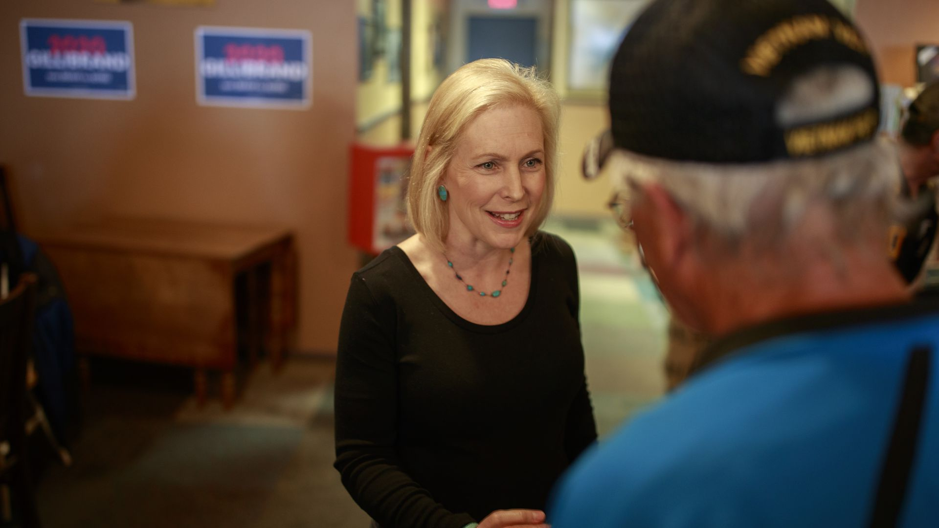 Sen. Kirsten Gillibrand with supporters in New Hampshire