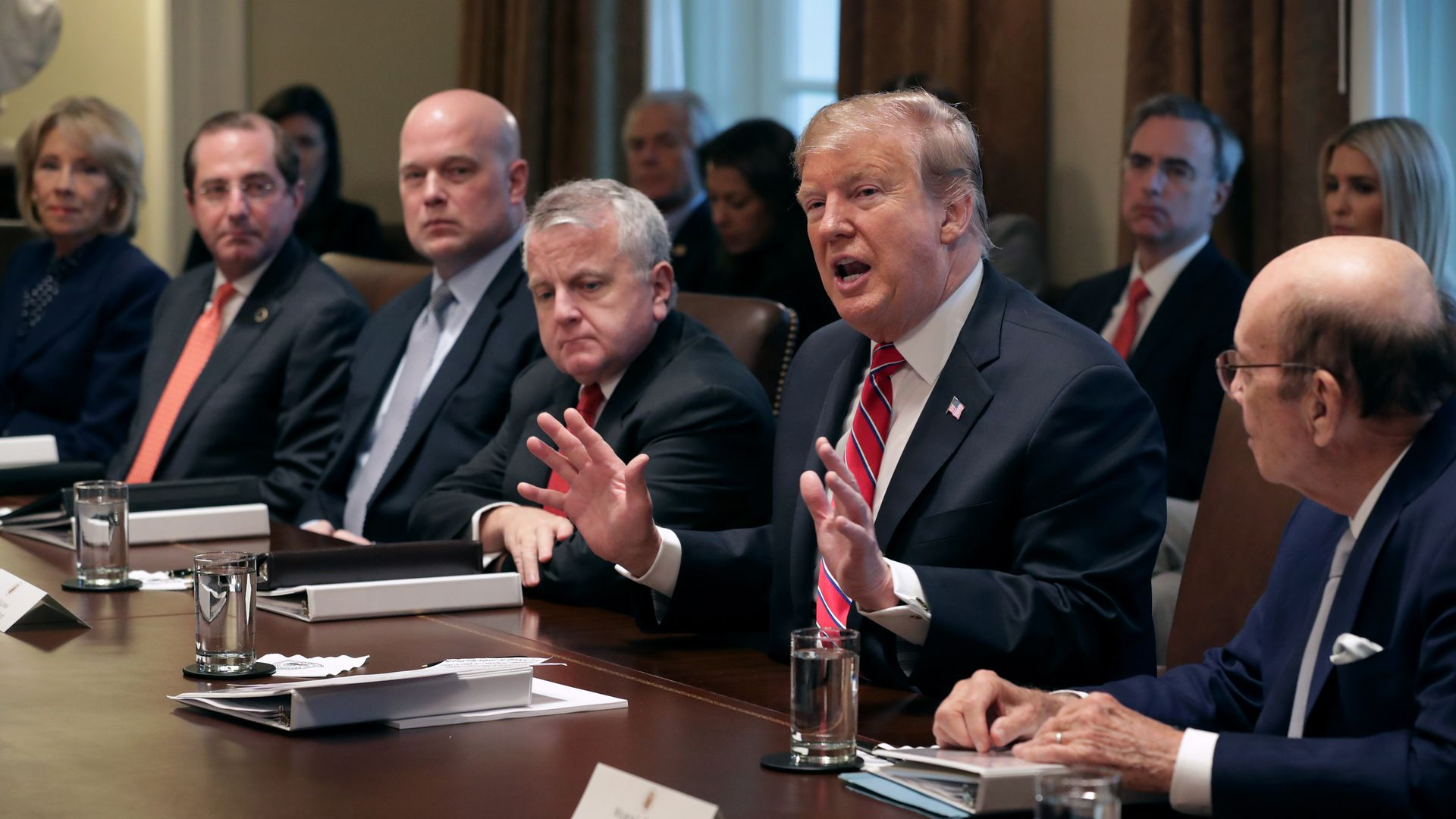 President Trump speaks during a Cabinet meeting