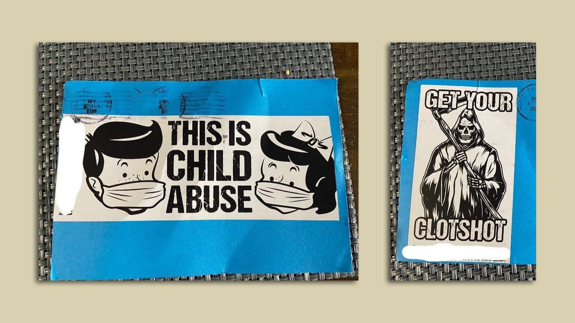 A photo of two anonymous mailers with anti-mask and anti-vaccine messages that were sent to residents in Ankeny.