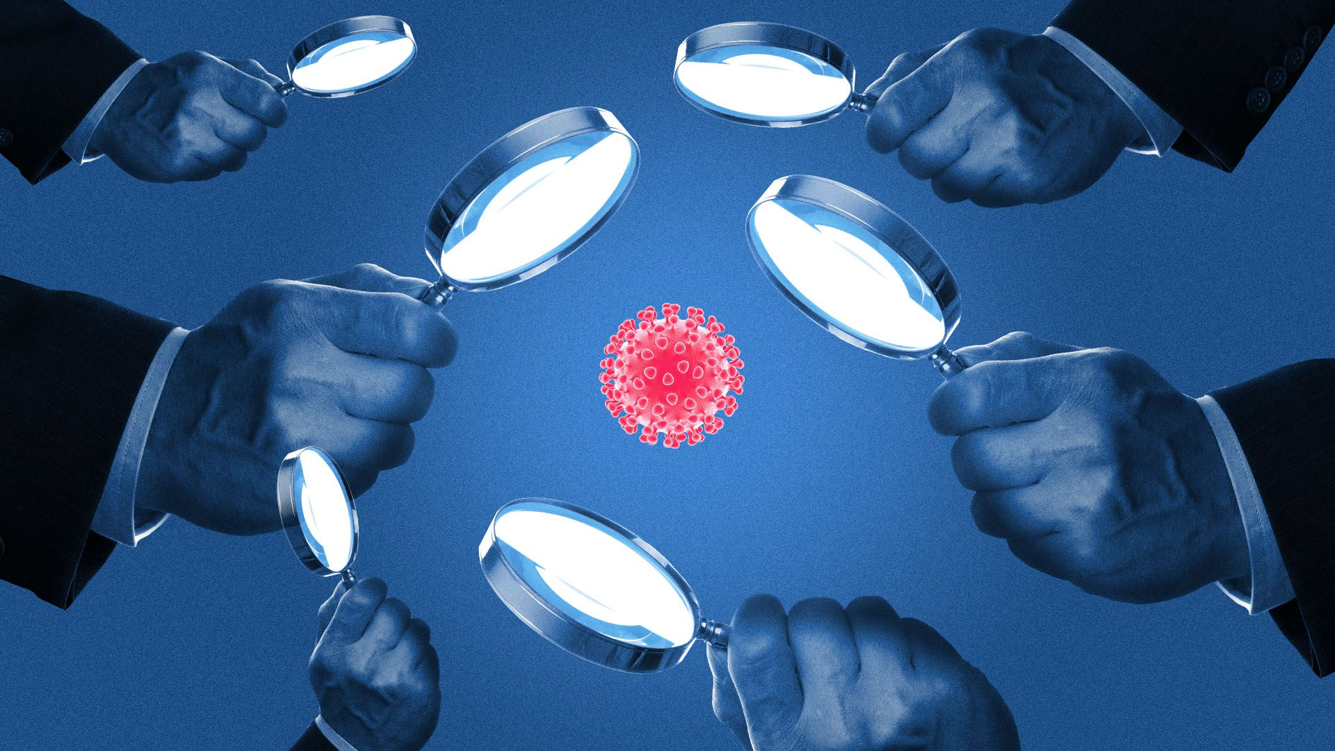Illustration of a virus surrounded by hands with magnifying glasses