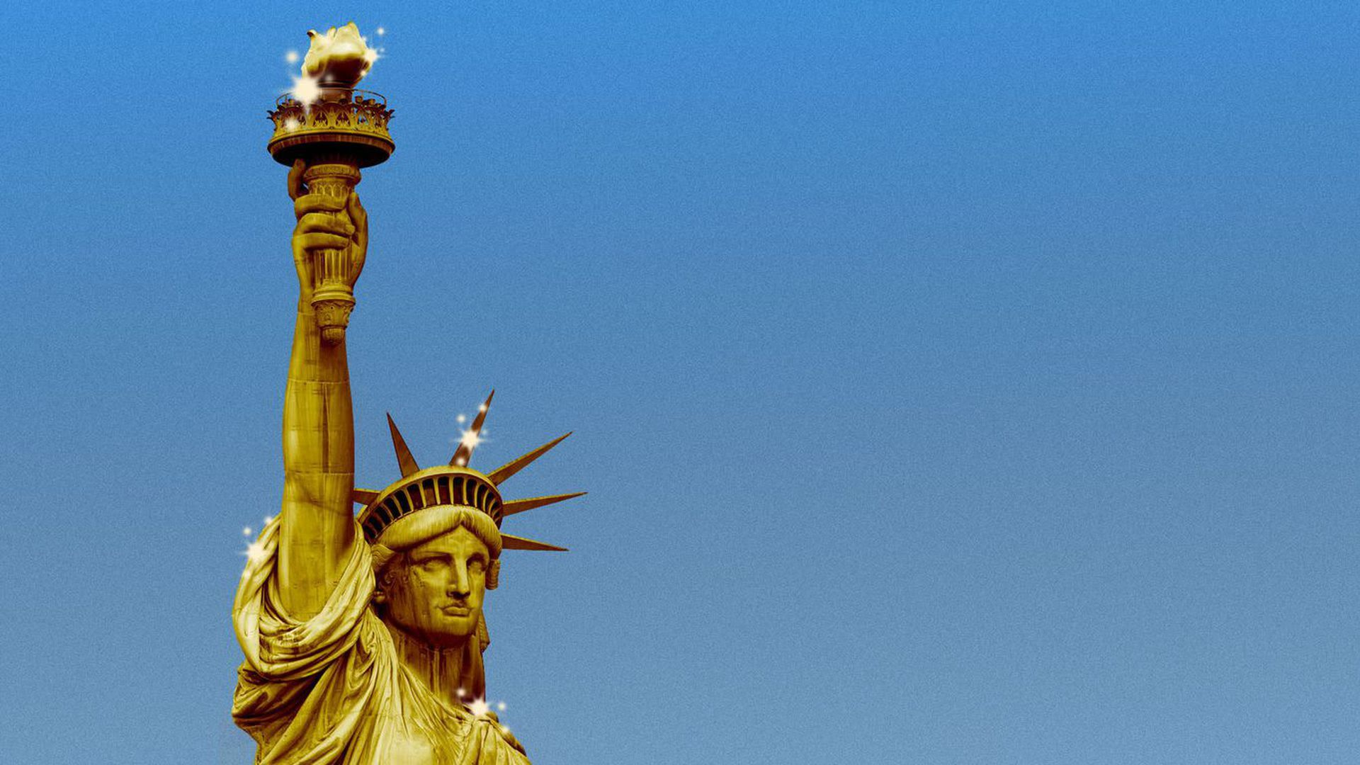 A gold version of the statue of liberty.