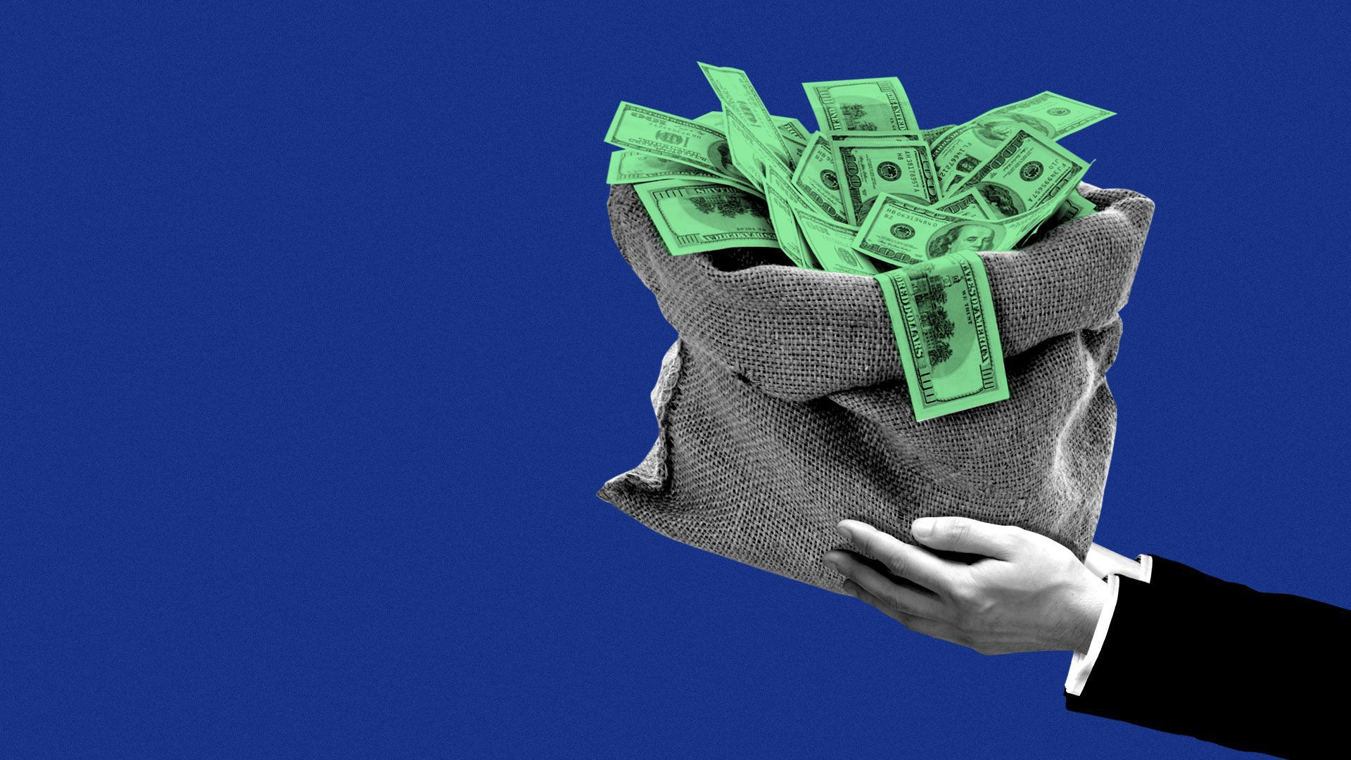Illustration of suited hand holding a large bag of money