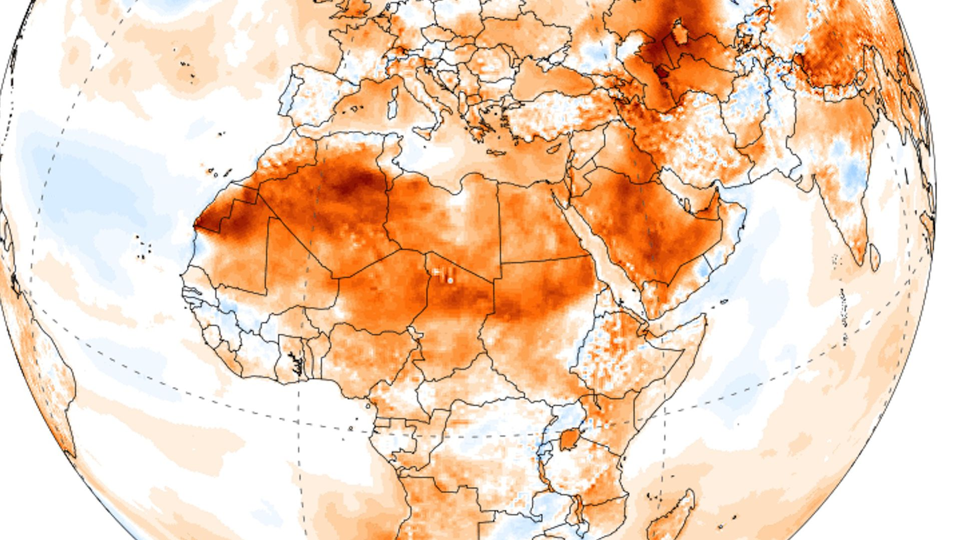 Map of temperature anomalies in Africa on July 6, 2018.