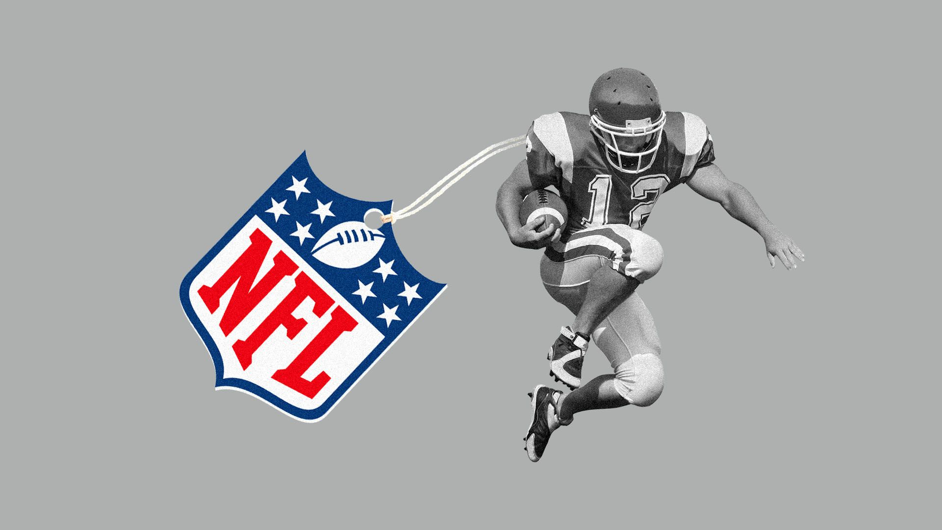 Illustration of football player with giant NFL tag attached to him