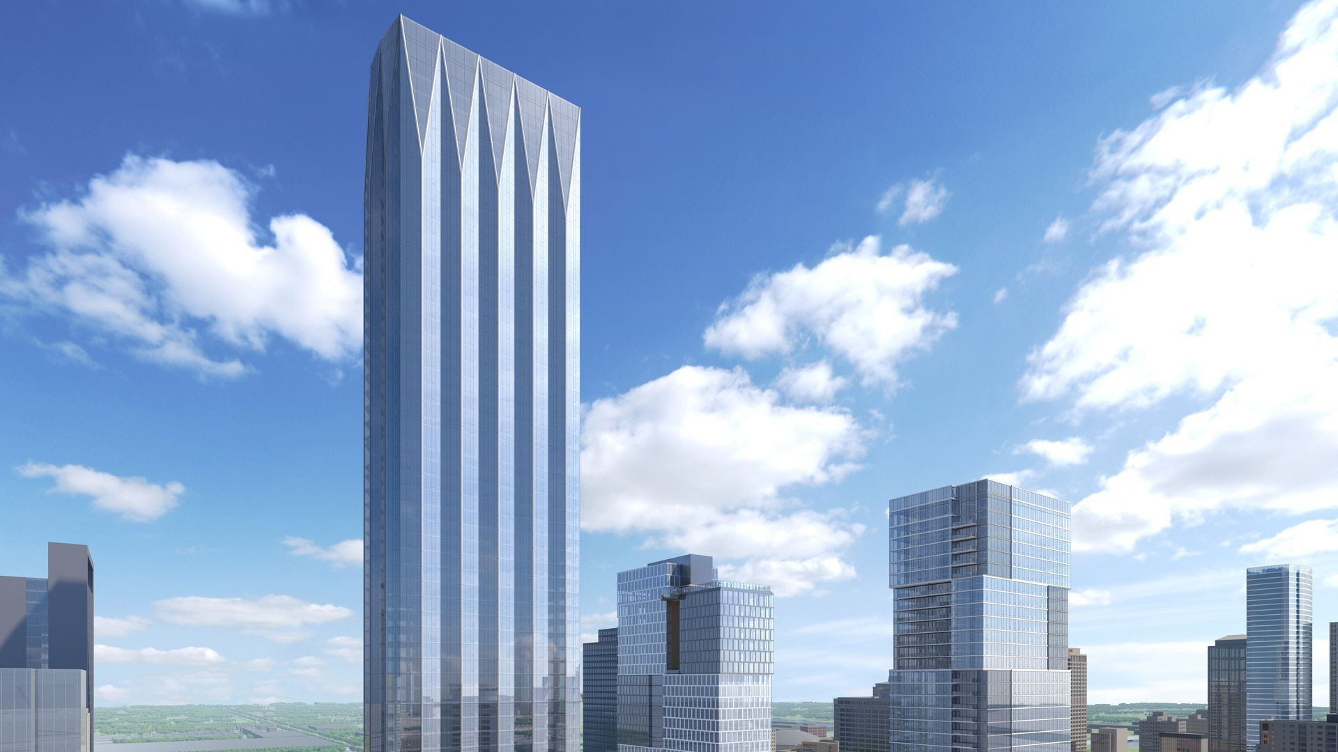 A rendering of the proposed glass tower that could be built at the downtown YMCA site.