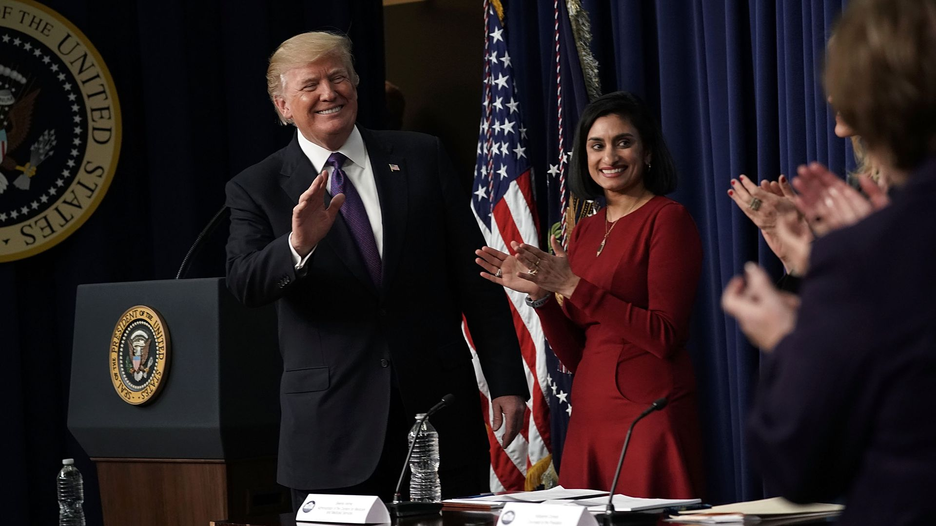 President Trump and CMS Administrator Seema Verma.