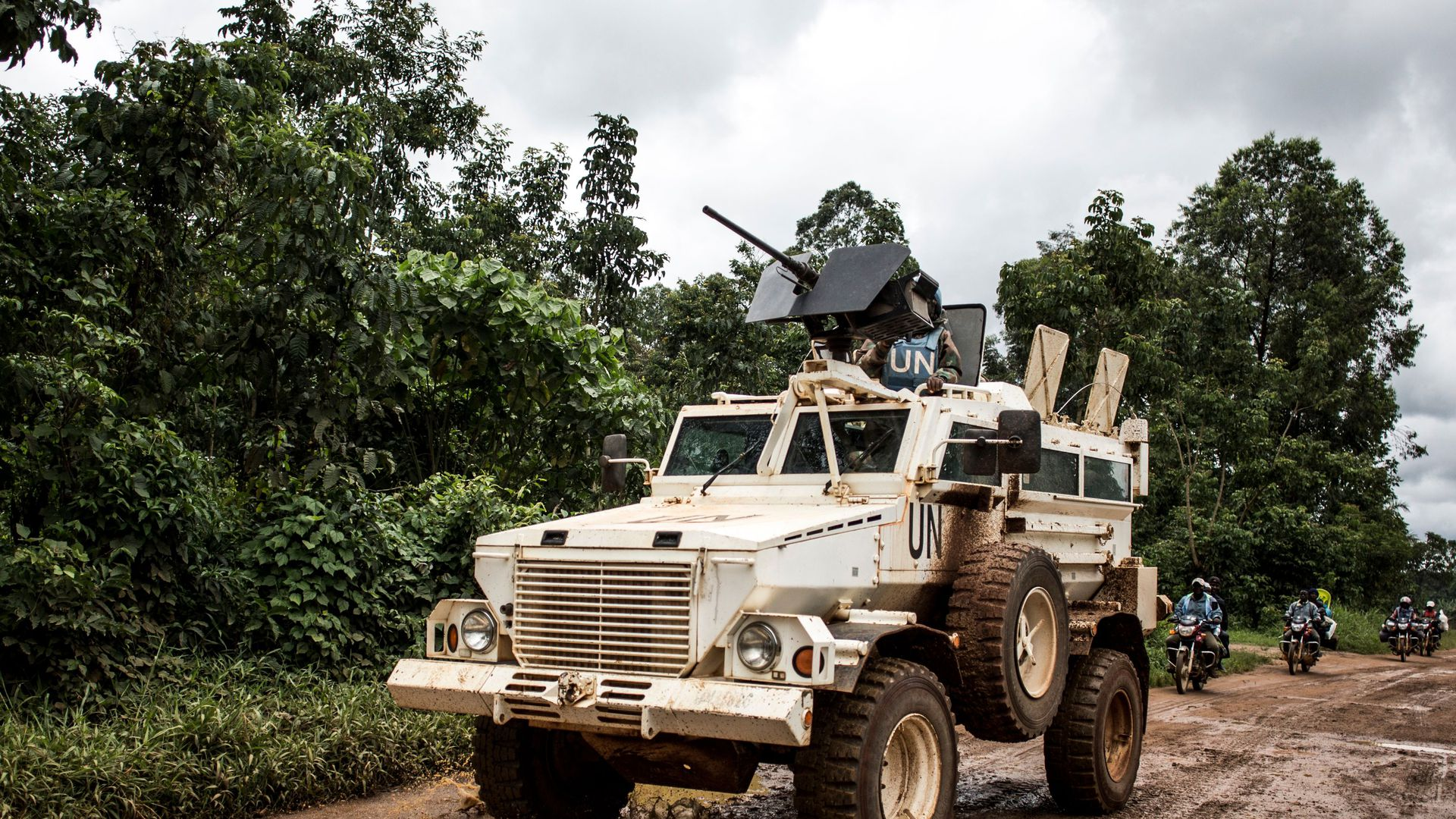 Photo of MONUSCO tank patrolling city of Beni, the epicenter of Ebola outbreak in Congo