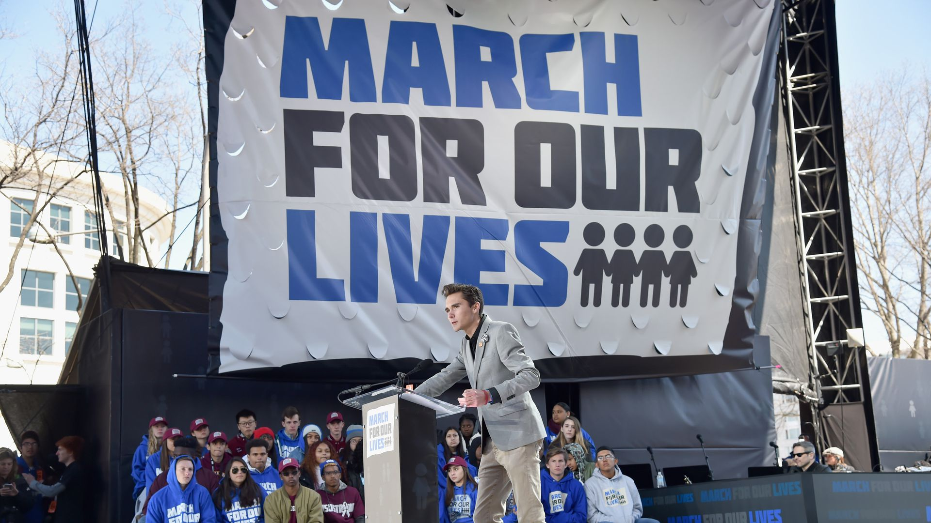 David Hogg speaks onstage at March for Our Lives in DC