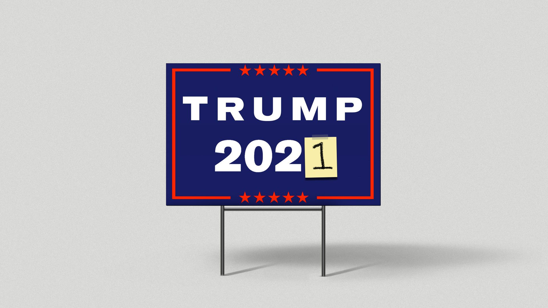 A Trump 2021 yard sign