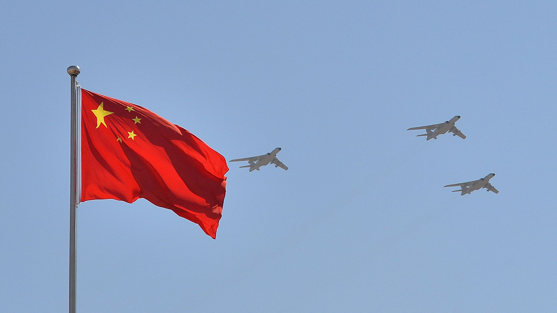 H-6K bomber with Chinese flag