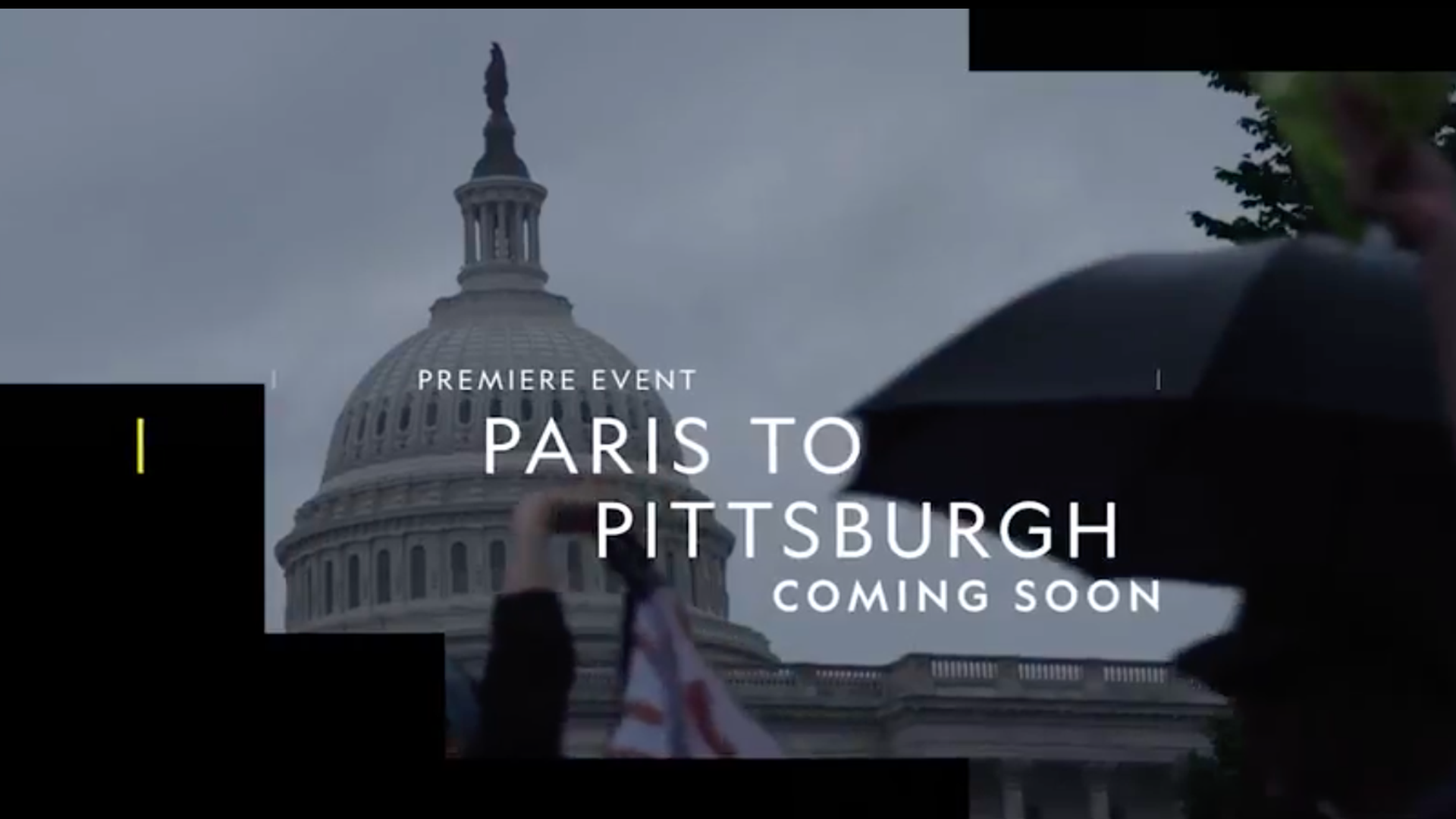 Screen shot of the title of the film, Paris to Pittsburgh